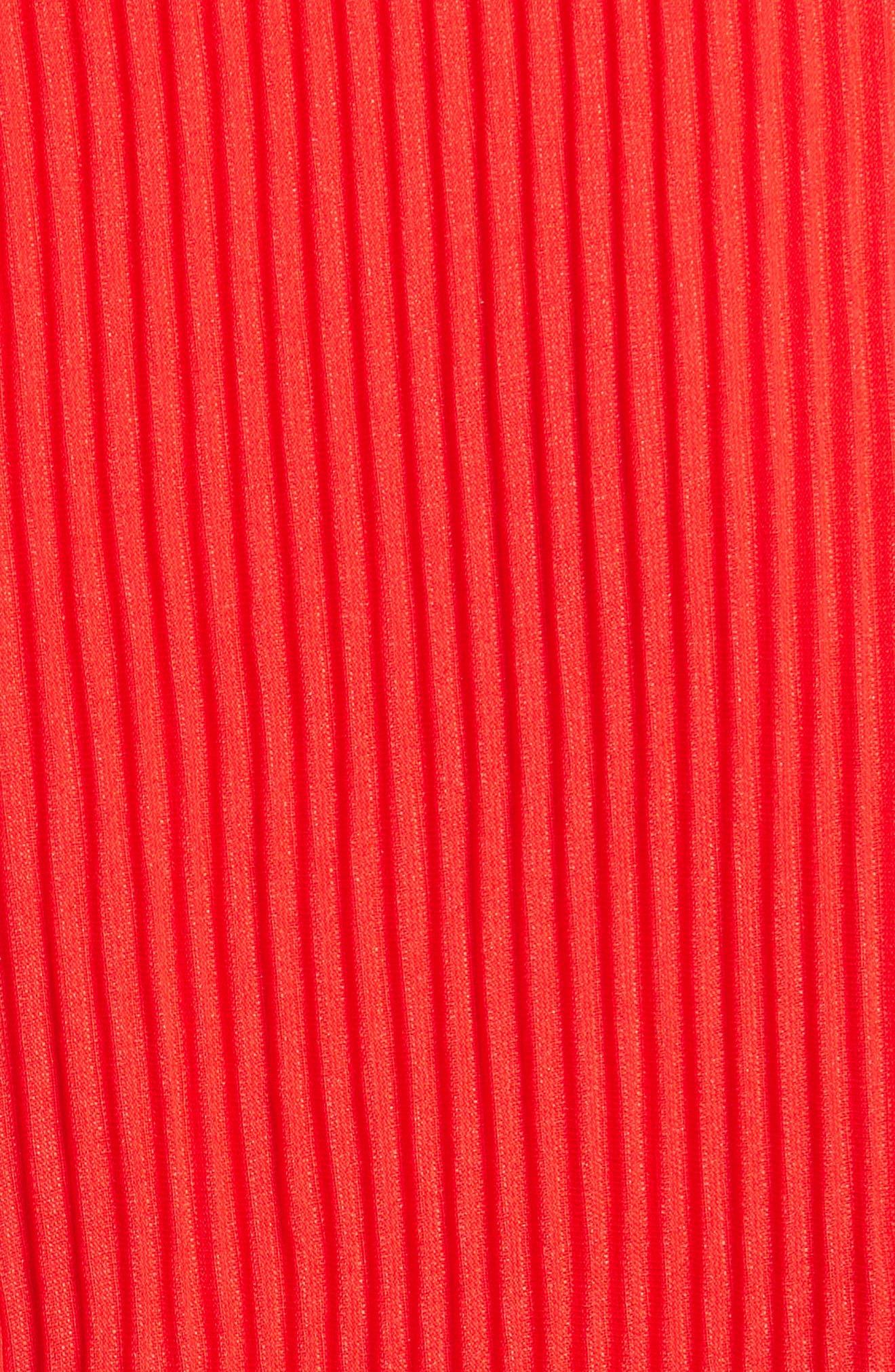 WAYF, Patton Plunge Plissé Dress, Alternate thumbnail 7, color, FIRE RED