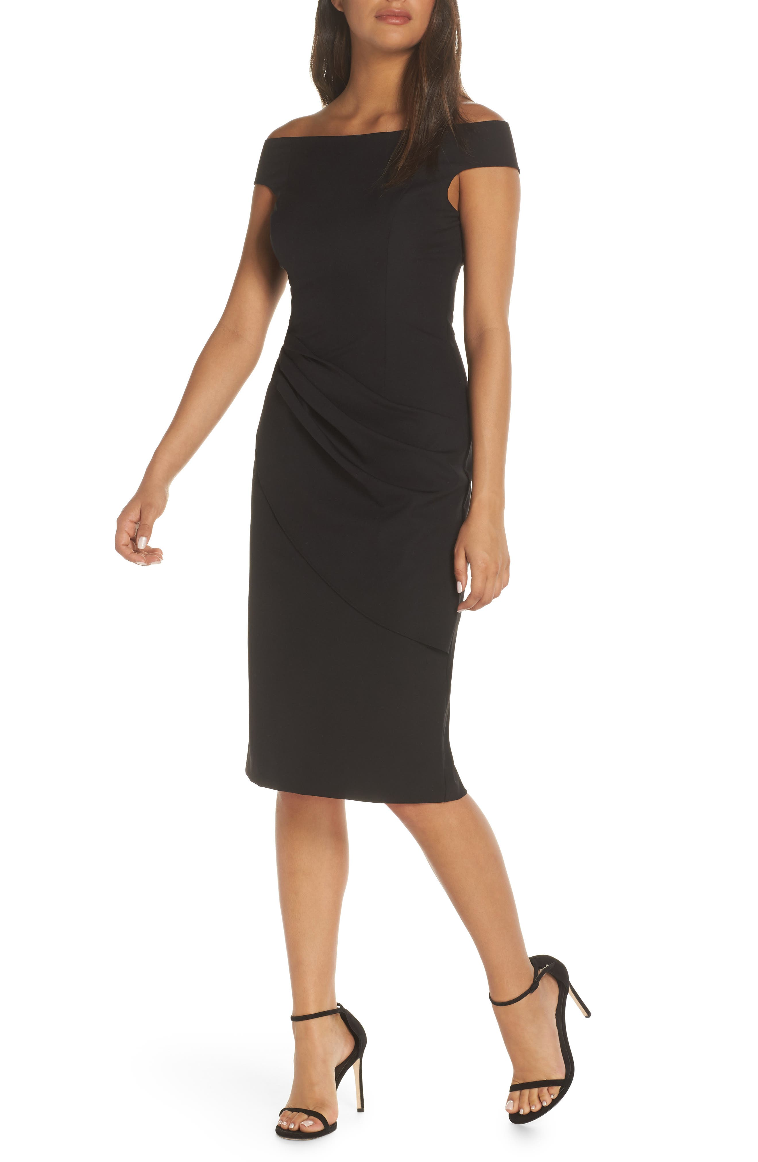 ELIZA J, Off the Shoulder Sheath Dress, Alternate thumbnail 6, color, BLACK