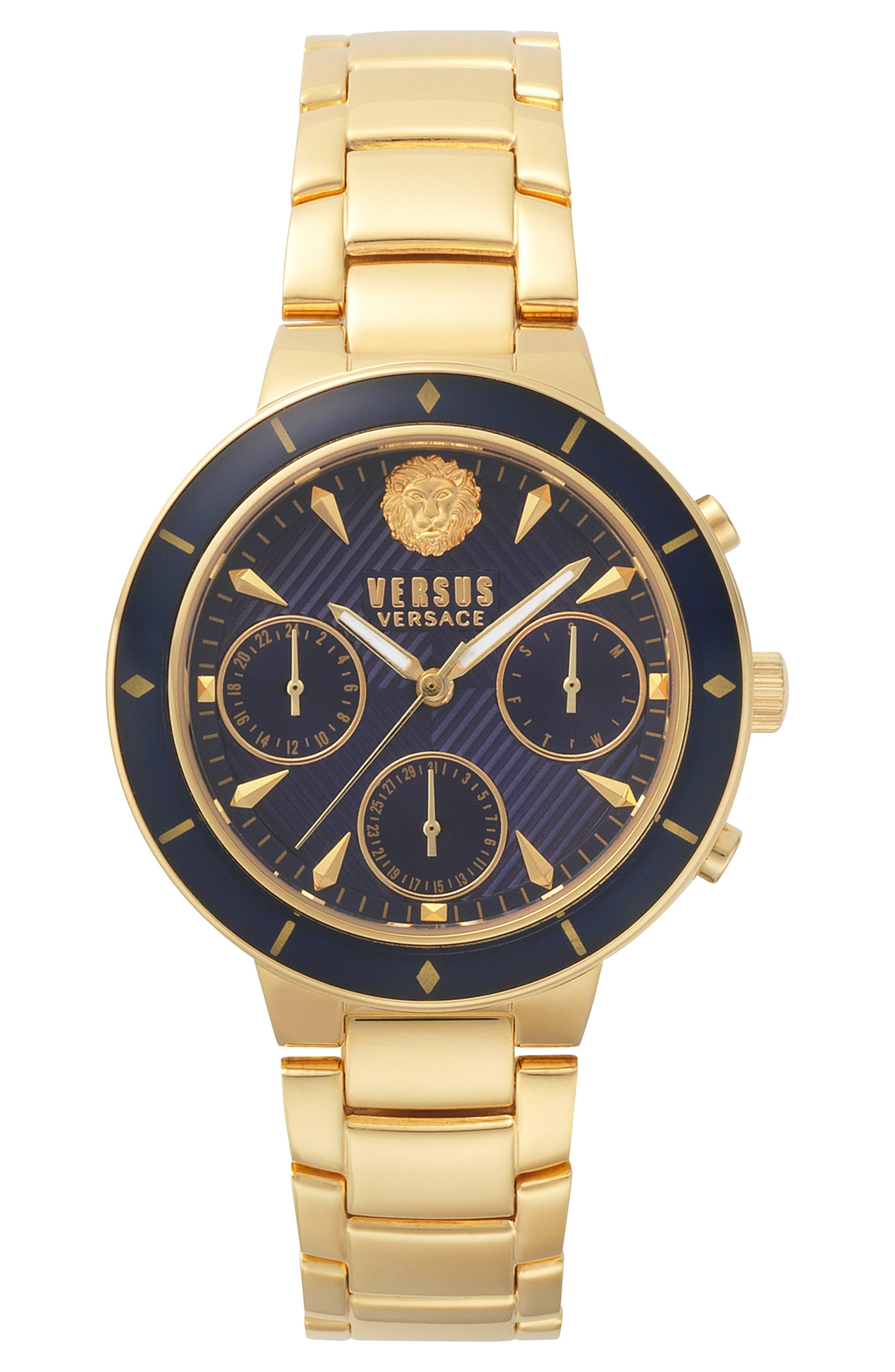 VERSUS VERSACE Harbour Heights Chronograph Bracelet Watch, 38mm, Main, color, GOLD/ BLUE