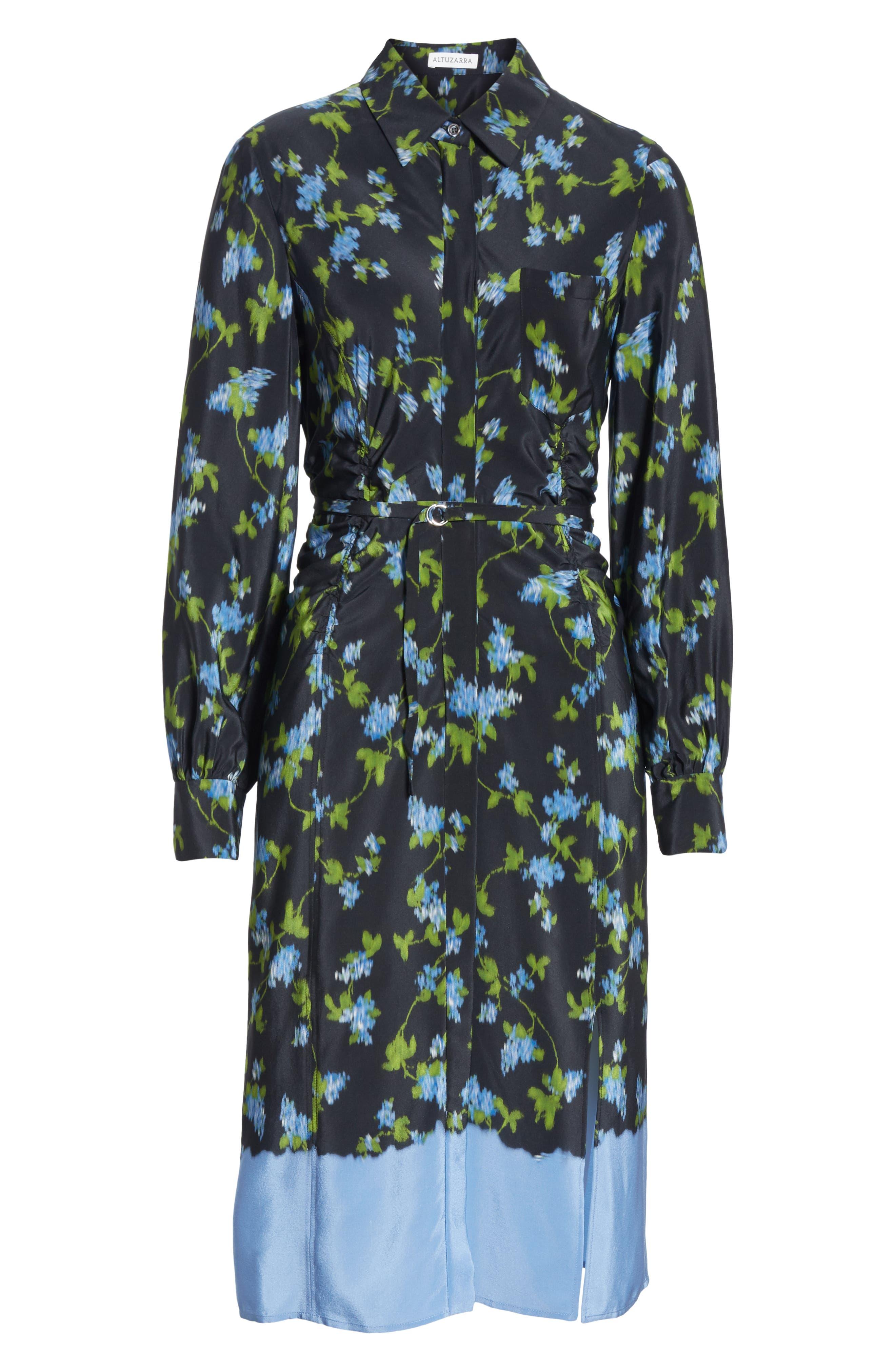 ALTUZARRA, Floral Print Silk Dress, Alternate thumbnail 7, color, BLACK