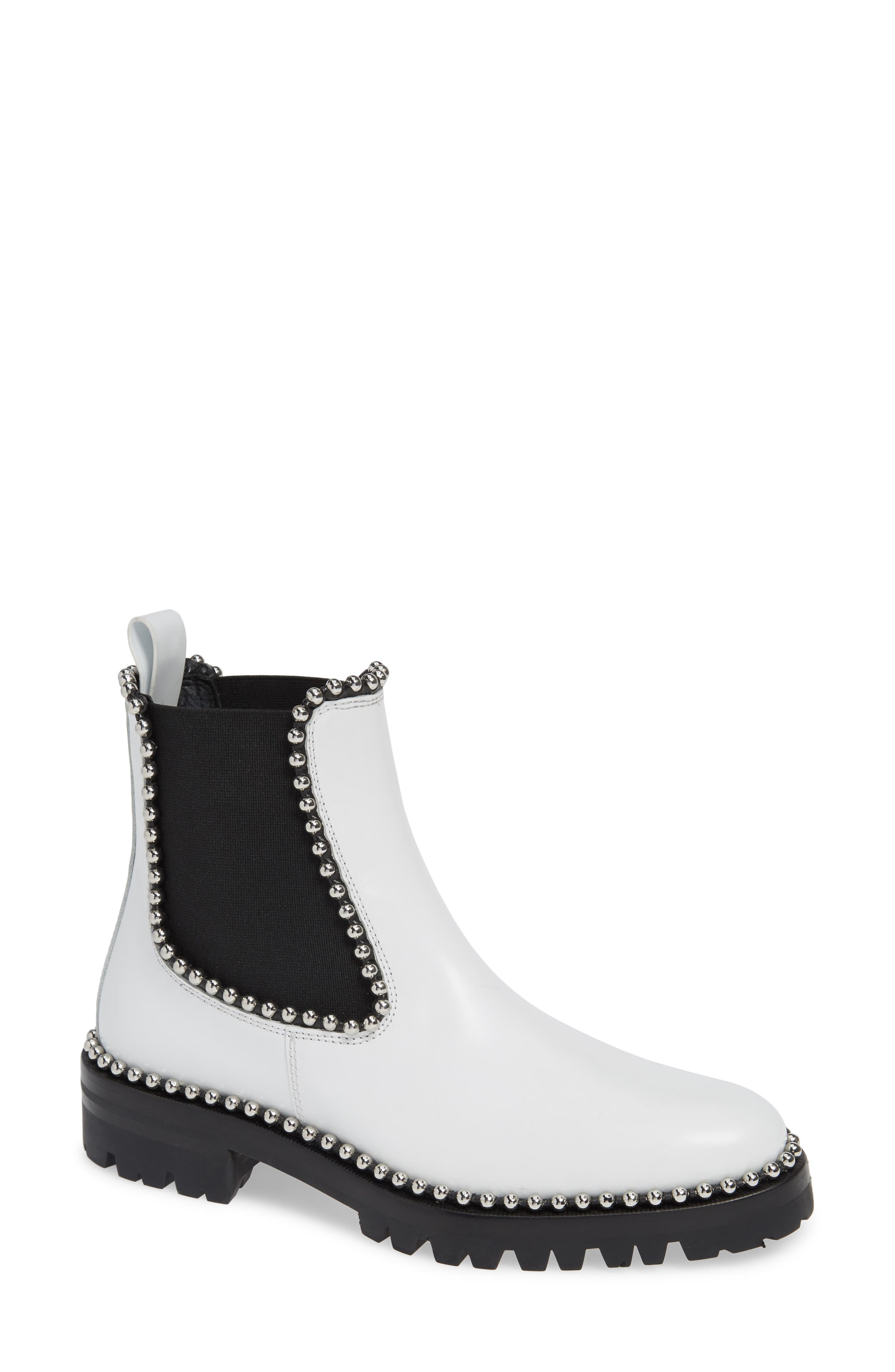 ALEXANDER WANG, Spencer Chelsea Boot, Main thumbnail 1, color, WHITE LEATHER