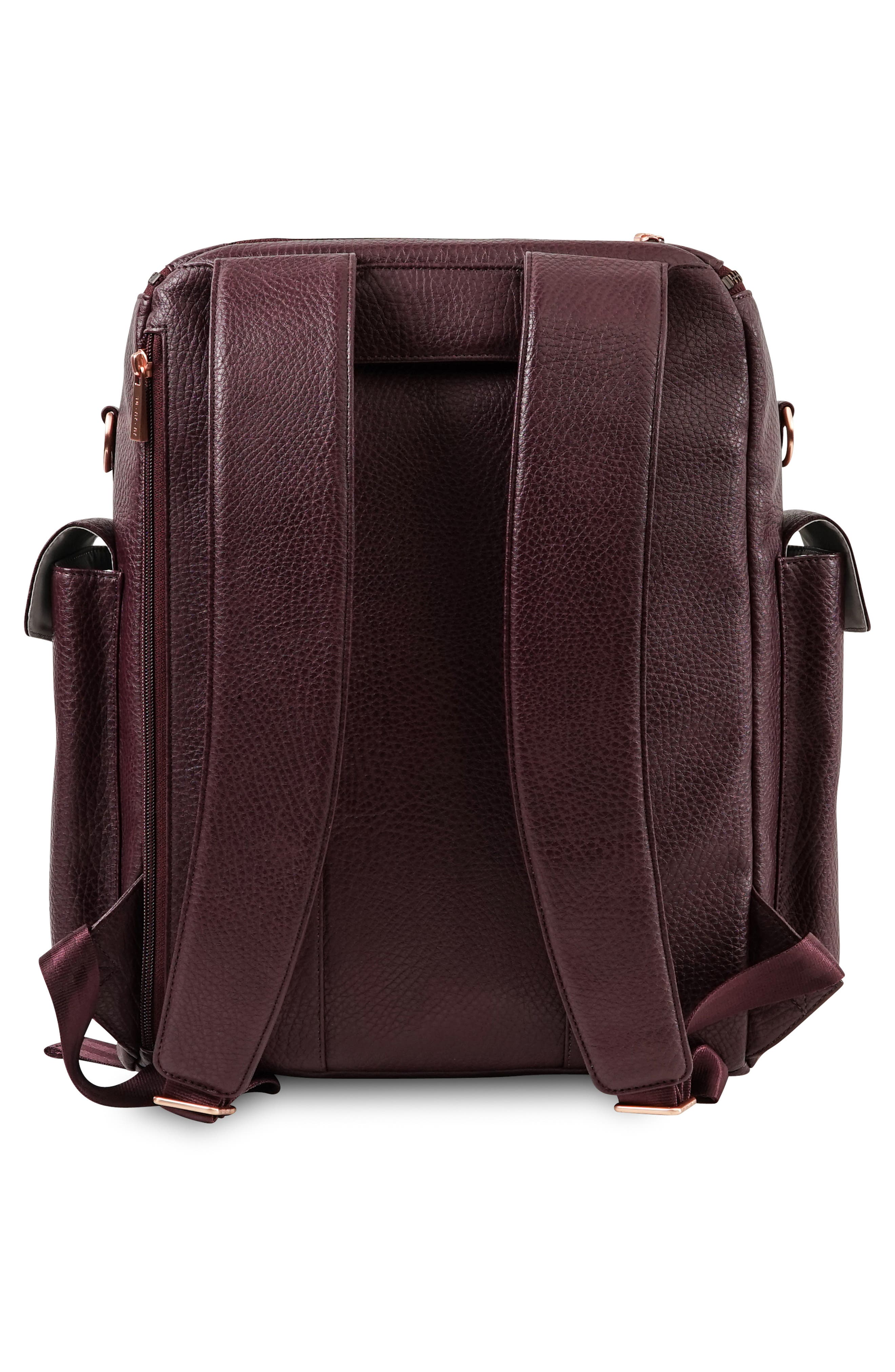 JU-JU-BE, Ever Collection Forever Faux Leather Diaper Backpack, Alternate thumbnail 2, color, PLUM