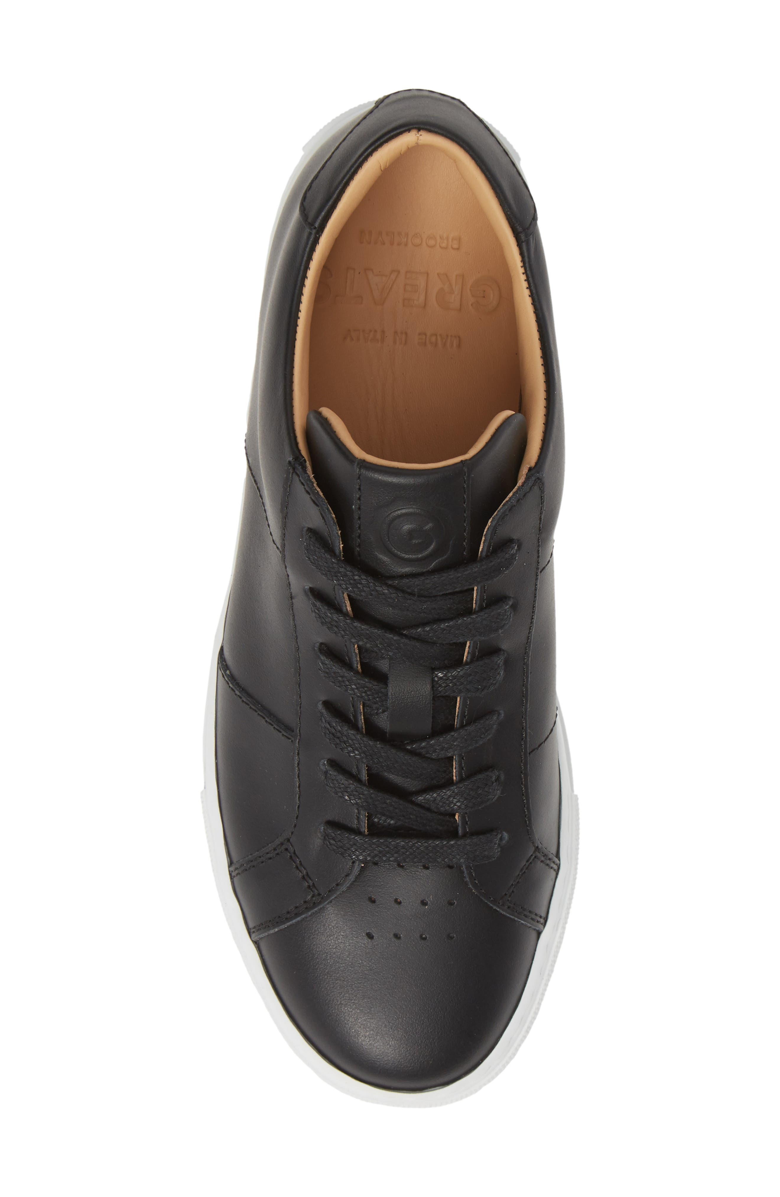 GREATS, Royale Low Top Sneaker, Alternate thumbnail 5, color, BLACK LEATHER