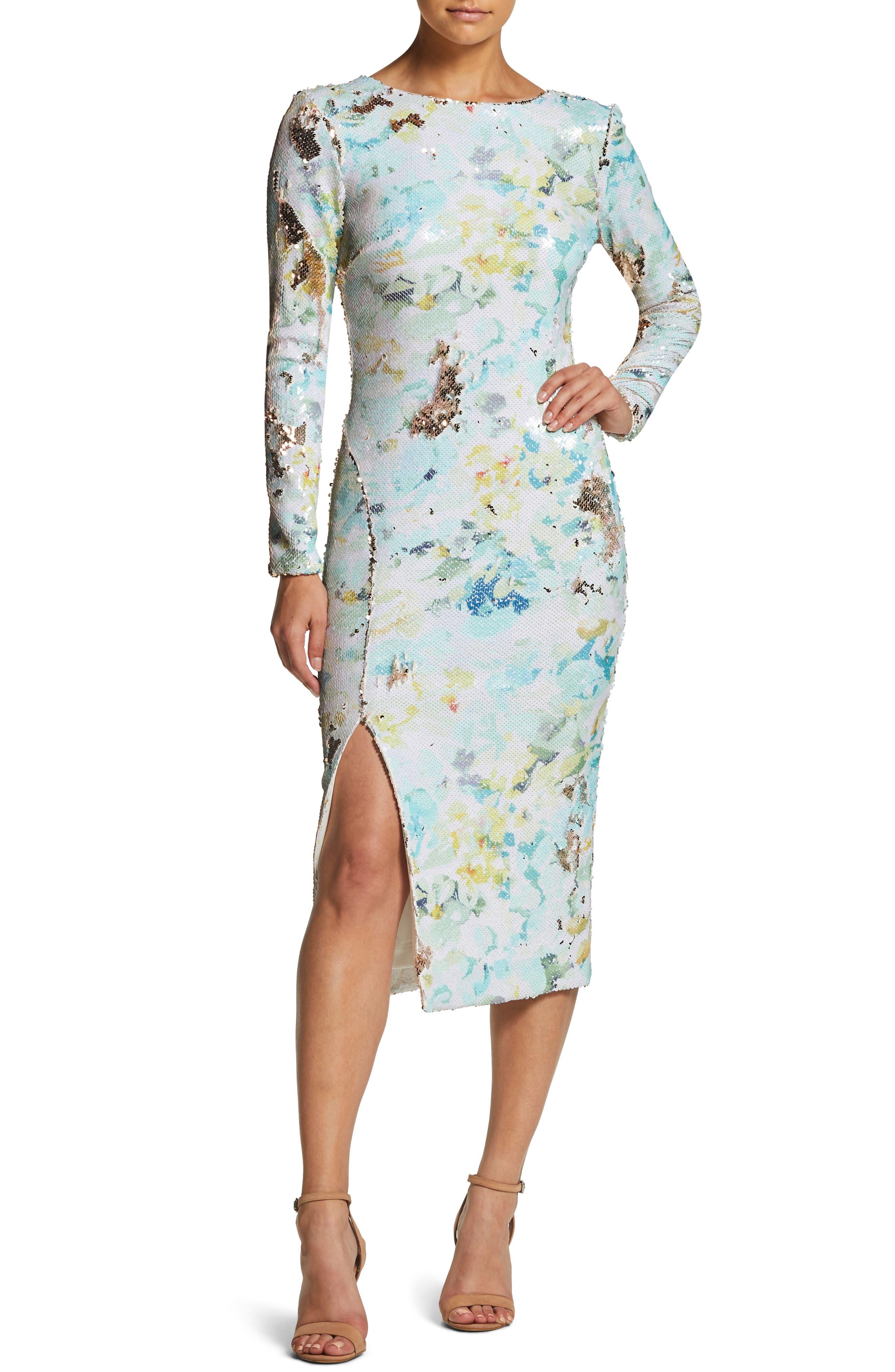 DRESS THE POPULATION, Natalie Scoop Back Sequin Dress, Main thumbnail 1, color, IVORY/ SAGE/ GOLD