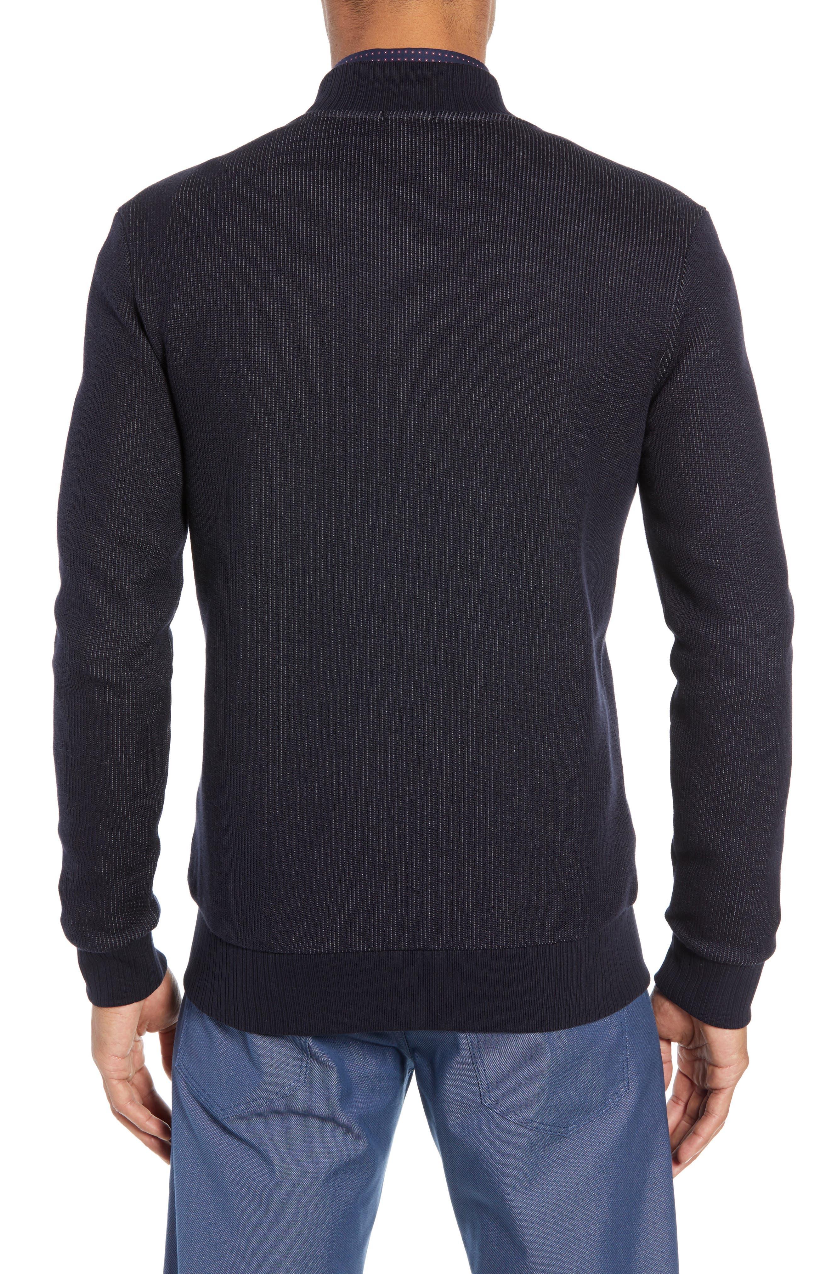 BOSS, Salea Slim Fit Sweatshirt Jacket, Alternate thumbnail 2, color, BLUE