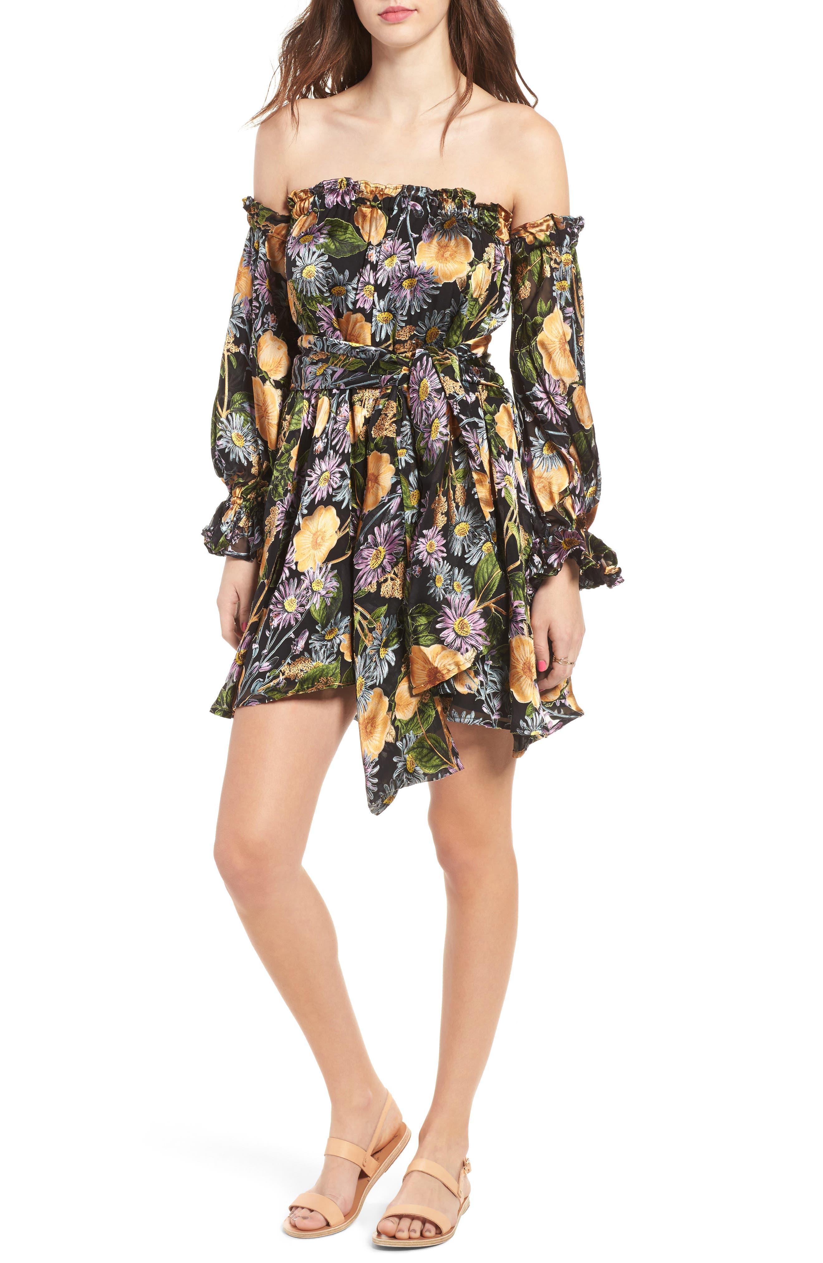 FOR LOVE & LEMONS, Luciana Strapless Fit & Flare Dress, Main thumbnail 1, color, 010