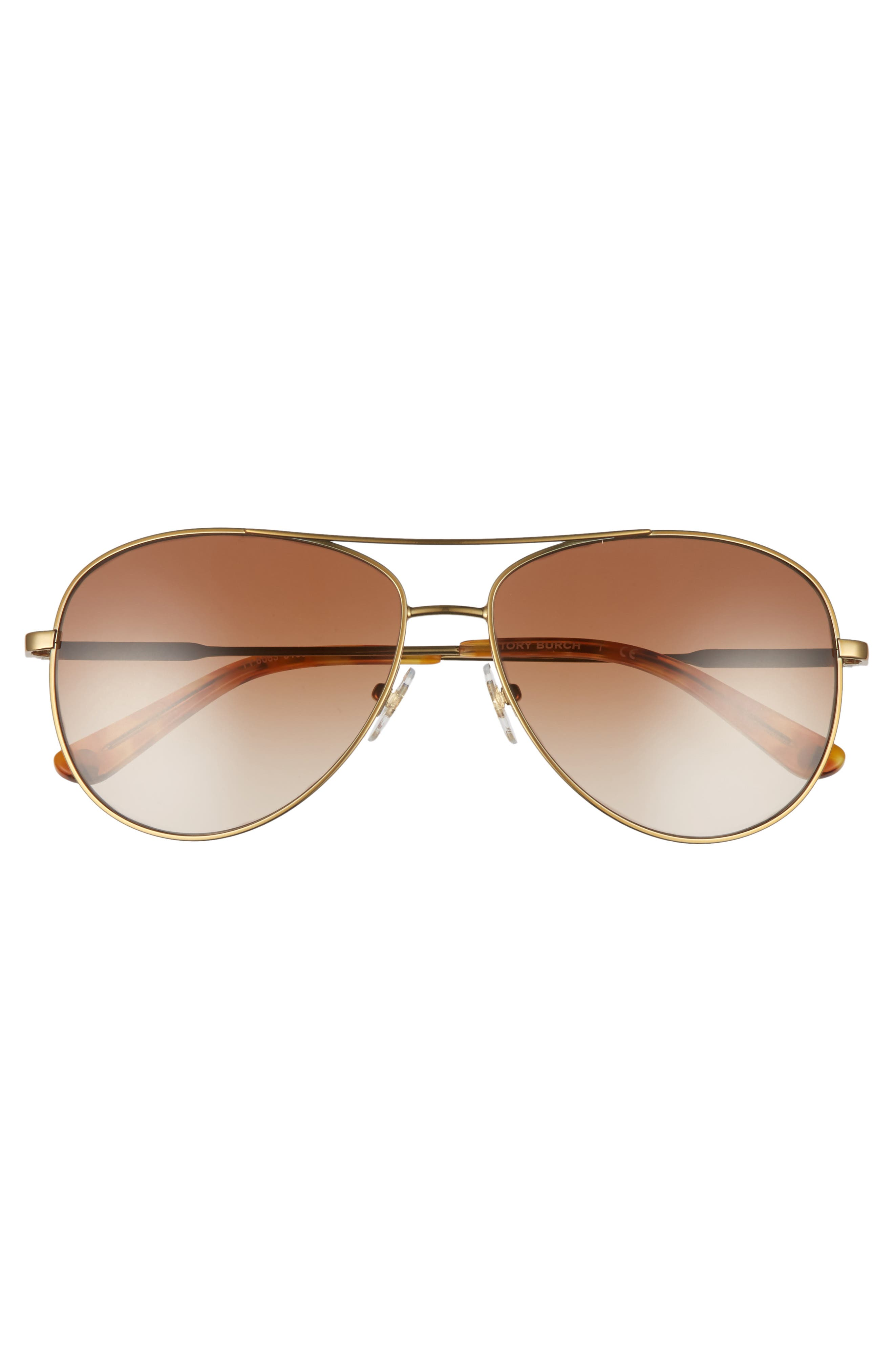 TORY BURCH, 59mm Metal Aviator Sunglasses, Alternate thumbnail 4, color, 710