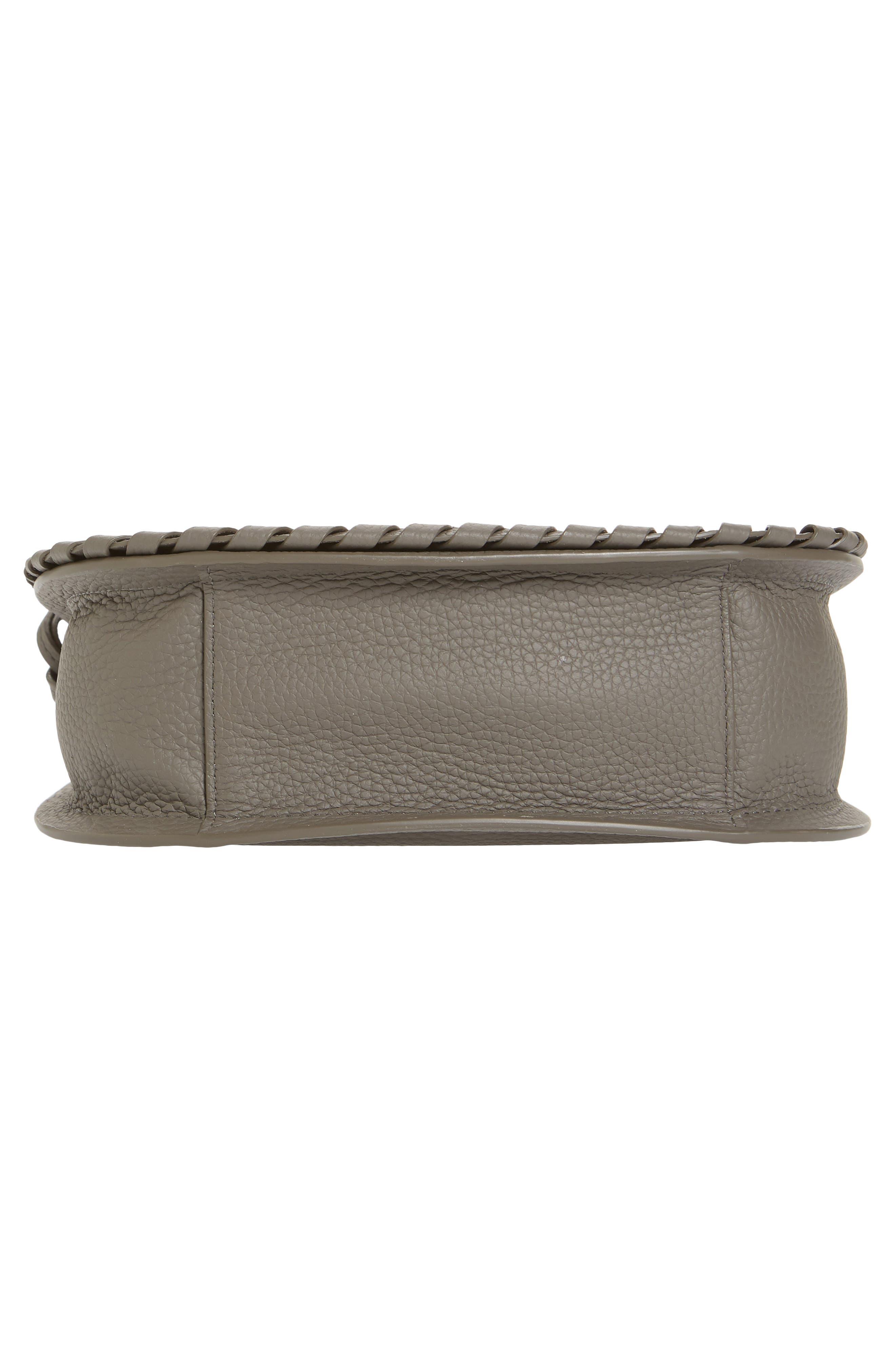 ALLSAINTS, Mori Leather Crossbody Bag, Alternate thumbnail 6, color, STORM GREY