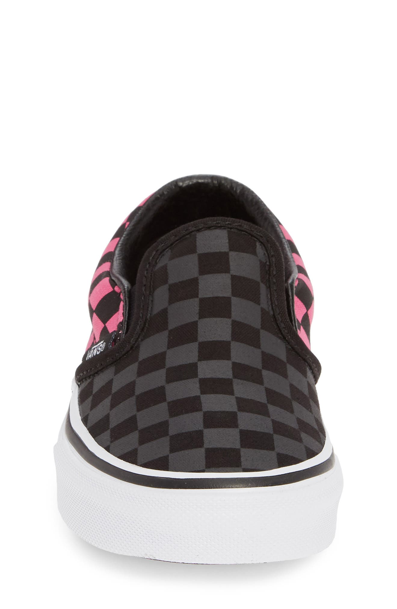 VANS, Classic Checker Slip-On, Alternate thumbnail 4, color, CARMINE ROSE/ BLACK