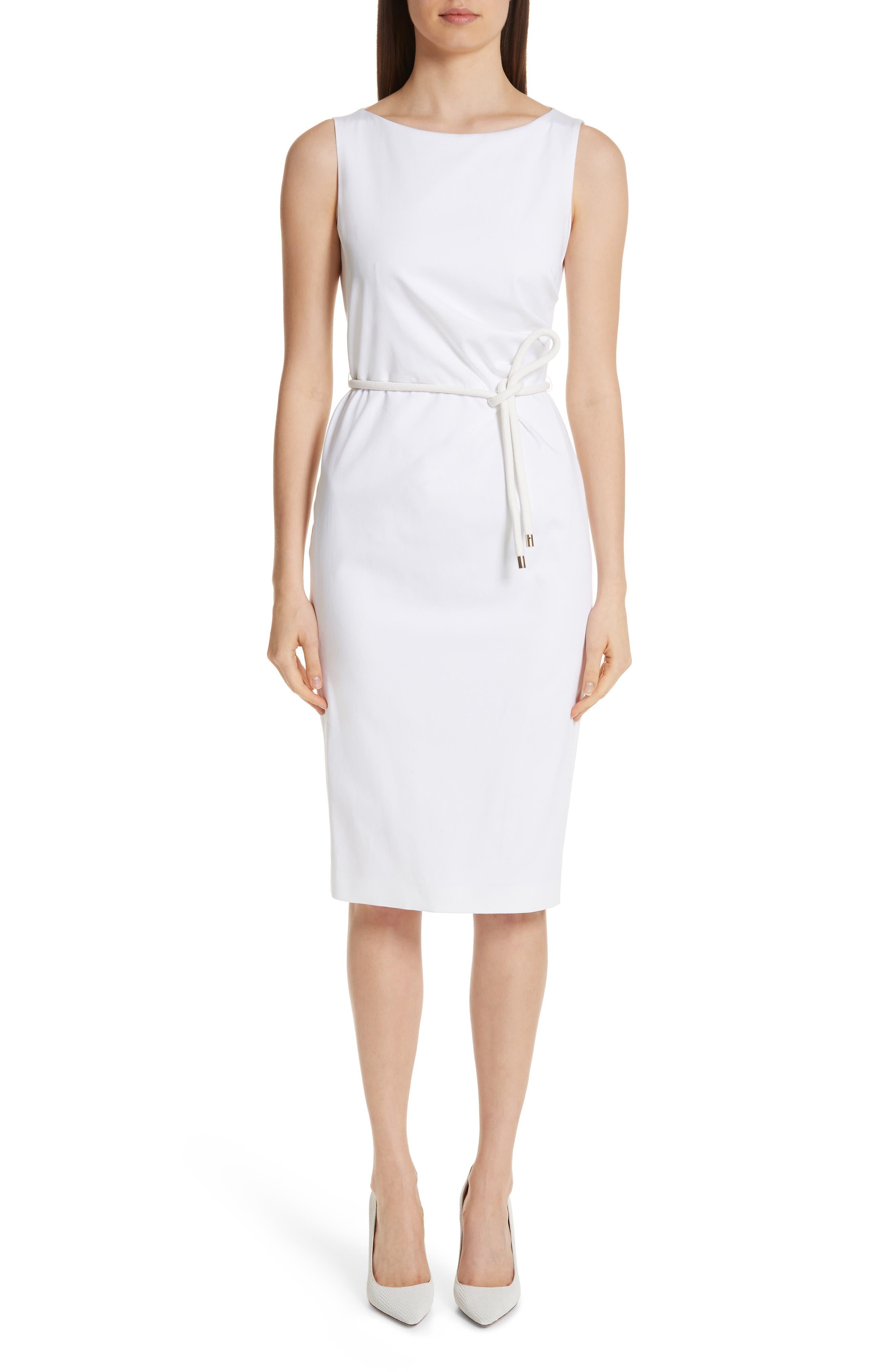 MAX MARA, Cordoba Sheath Dress, Main thumbnail 1, color, OPTICAL WHITE