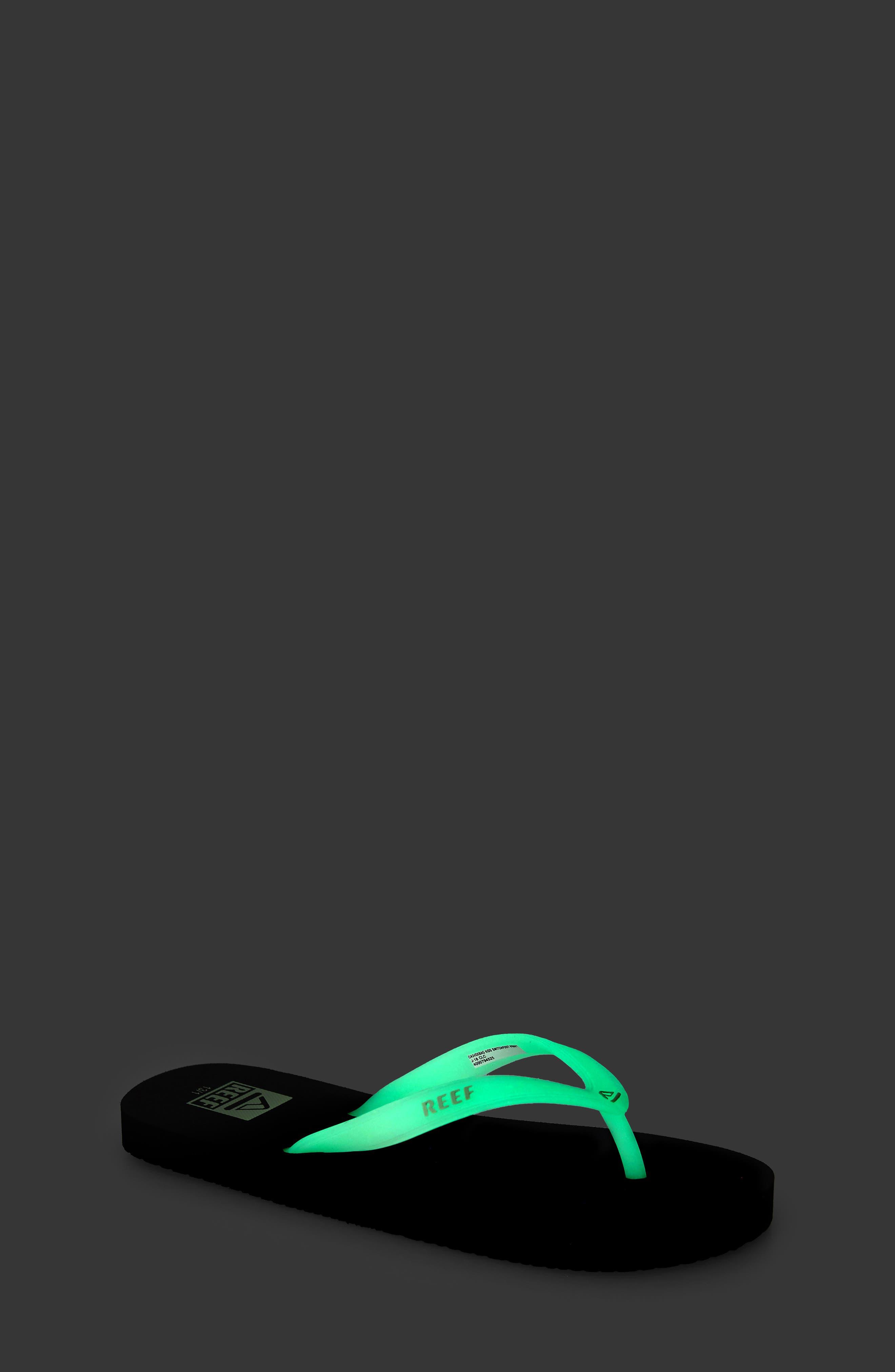 REEF, Switchfoot Glow Flip Flop, Alternate thumbnail 7, color, BLACK GLOW