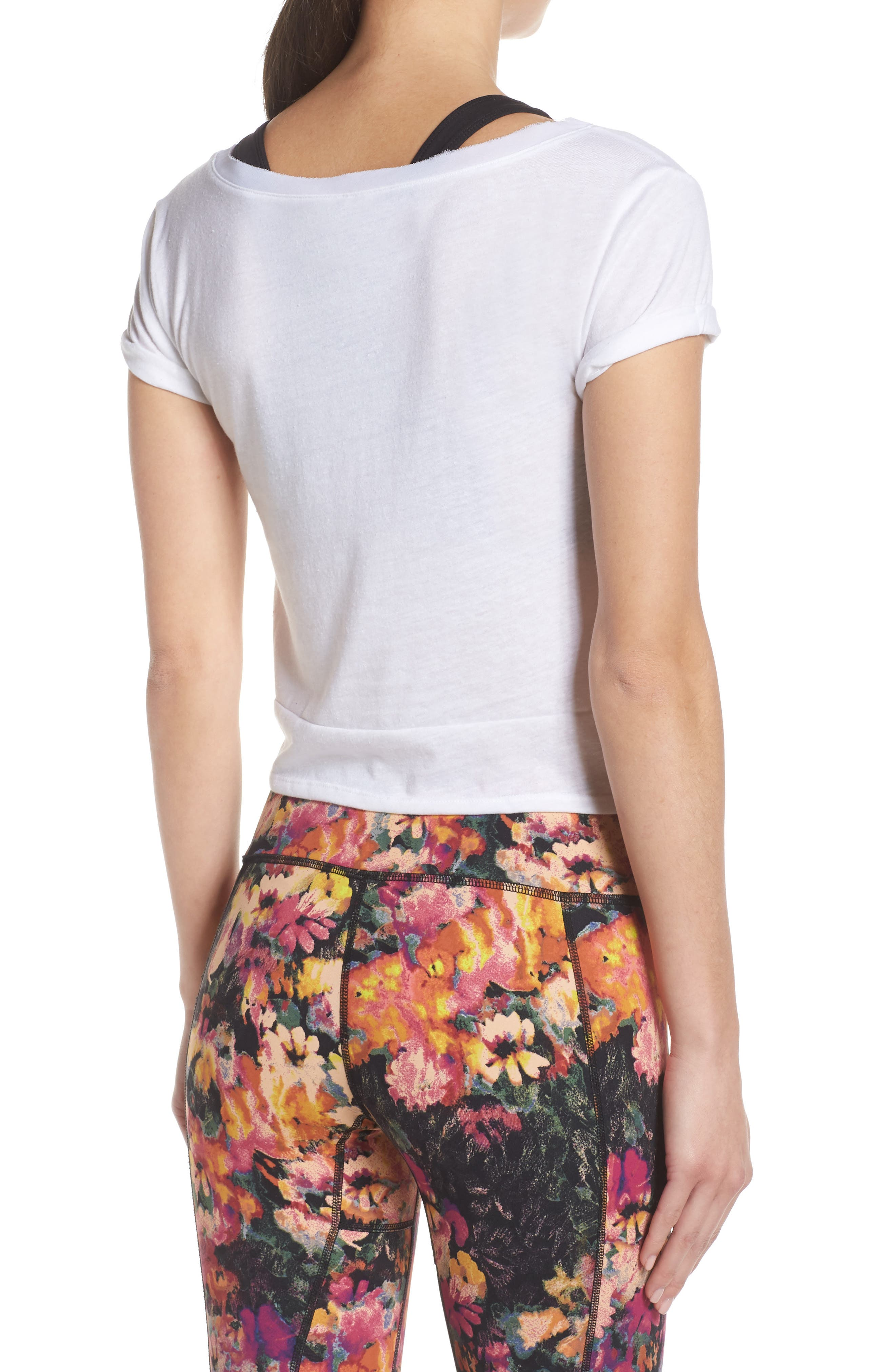 FREE PEOPLE MOVEMENT, Run in the Sun Print Tee, Alternate thumbnail 2, color, WHITE