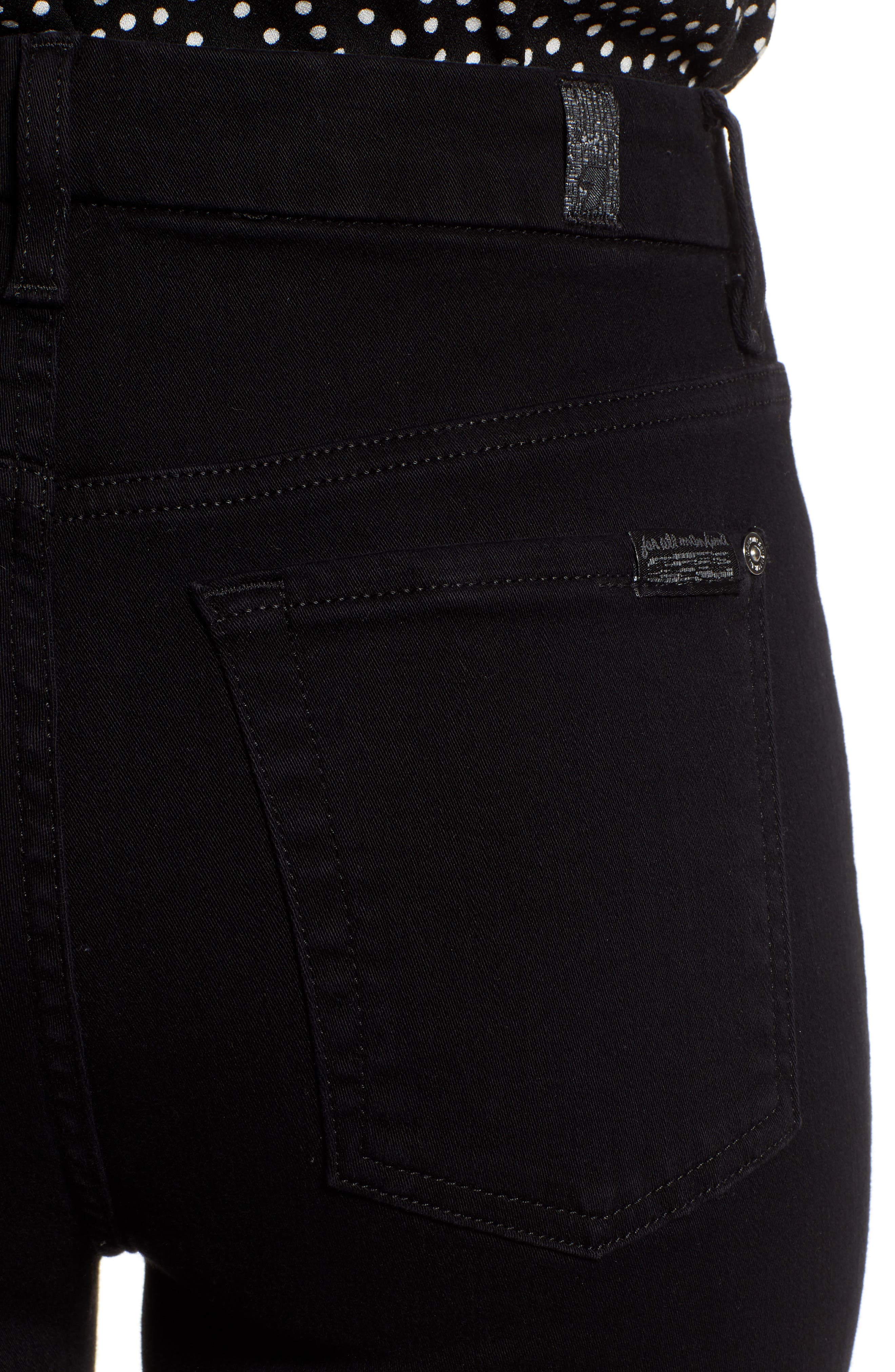 7 FOR ALL MANKIND<SUP>®</SUP>, Aubrey Super High Waist Ankle Skinny Jeans, Alternate thumbnail 5, color, PITCH BLACK