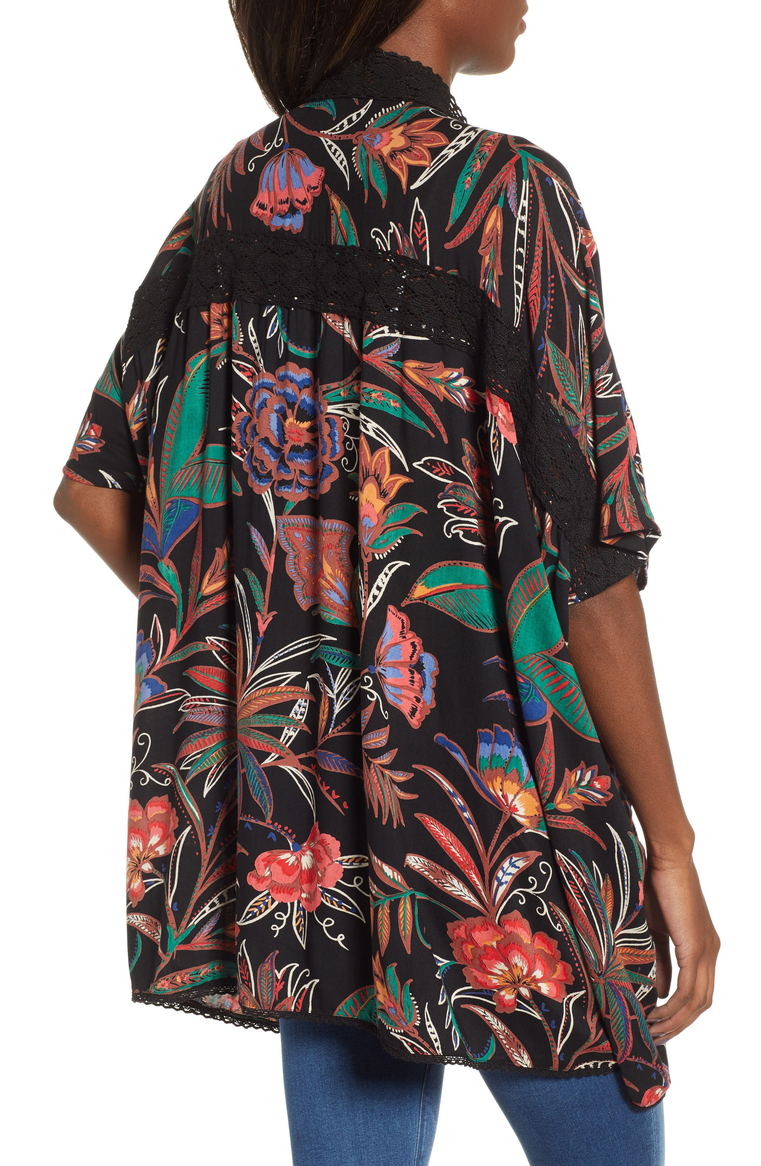 ANGIE, Floral Print Duster, Alternate thumbnail 2, color, BLACK
