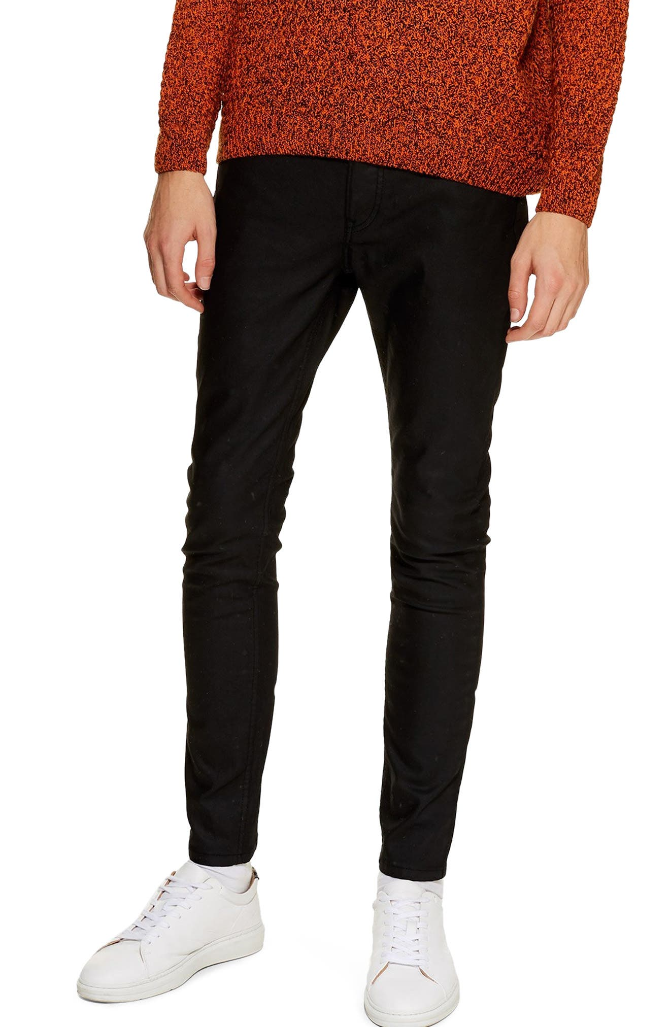 TOPMAN Coated Denim Skinny Jeans, Main, color, BLACK