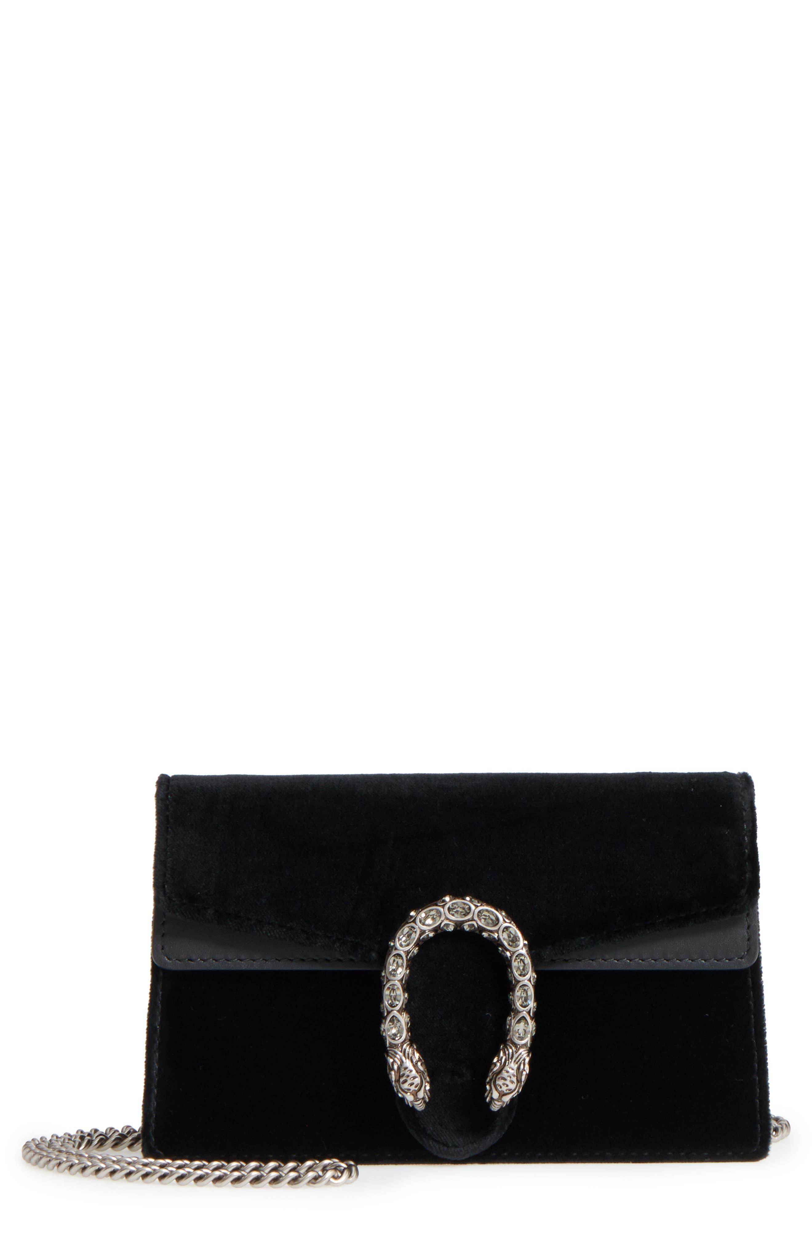 GUCCI, Super Mini Dionysus Velvet Shoulder Bag, Main thumbnail 1, color, NERO