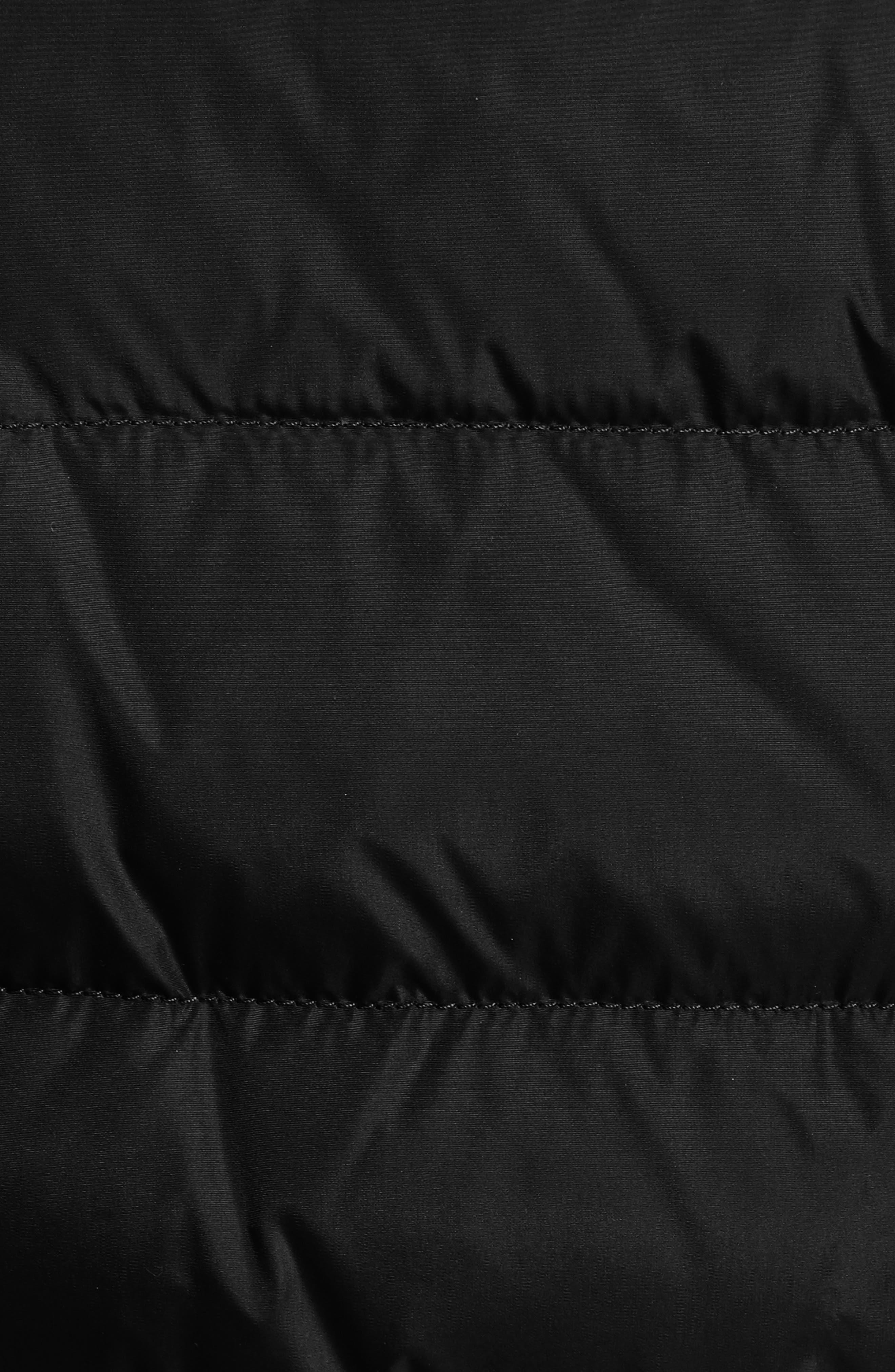 MONCLER, 'Flammette' Water Resistant Long Hooded Down Coat, Alternate thumbnail 6, color, BLK