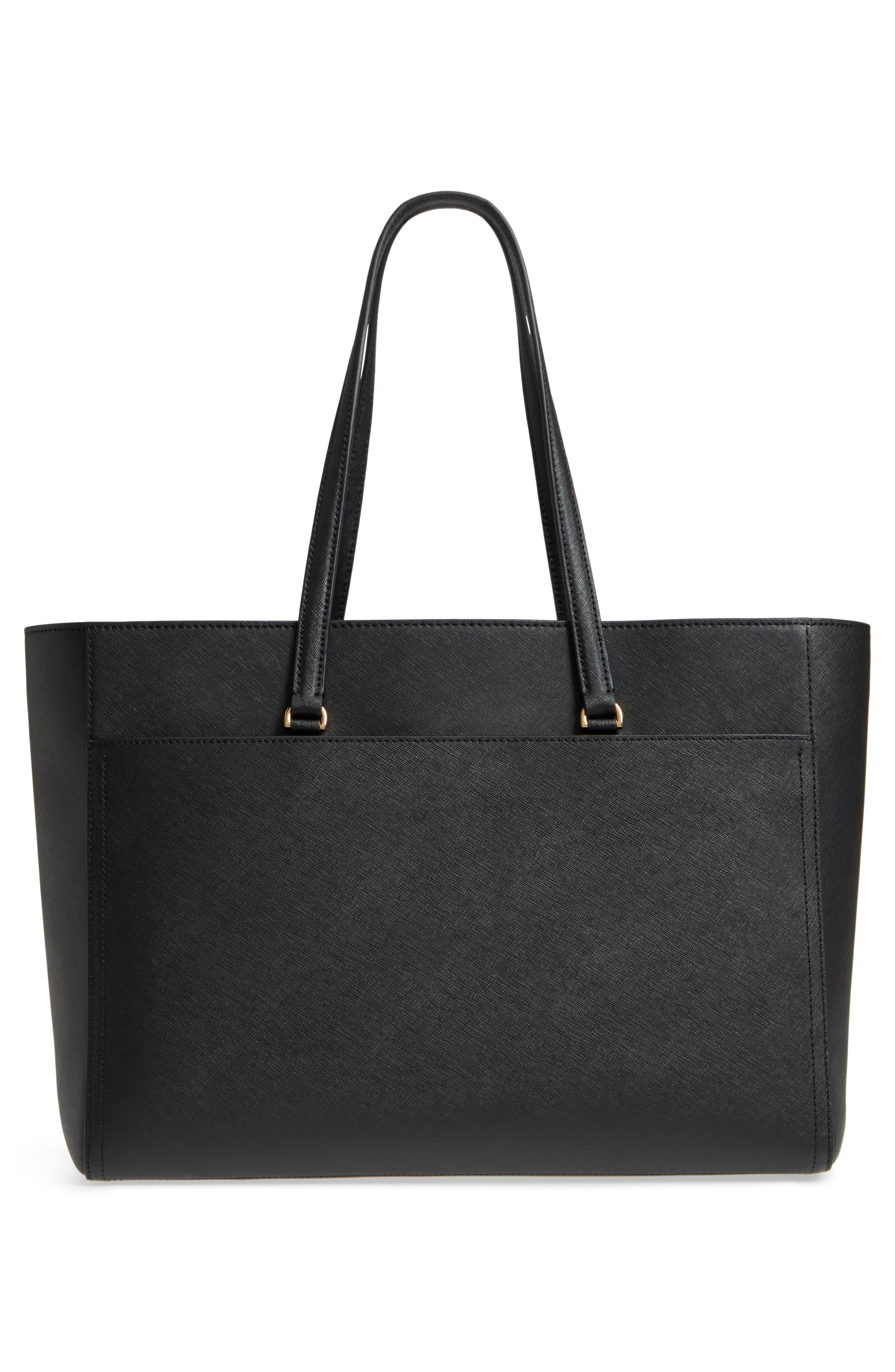 TORY BURCH, Robinson Leather Tote, Alternate thumbnail 4, color, 001