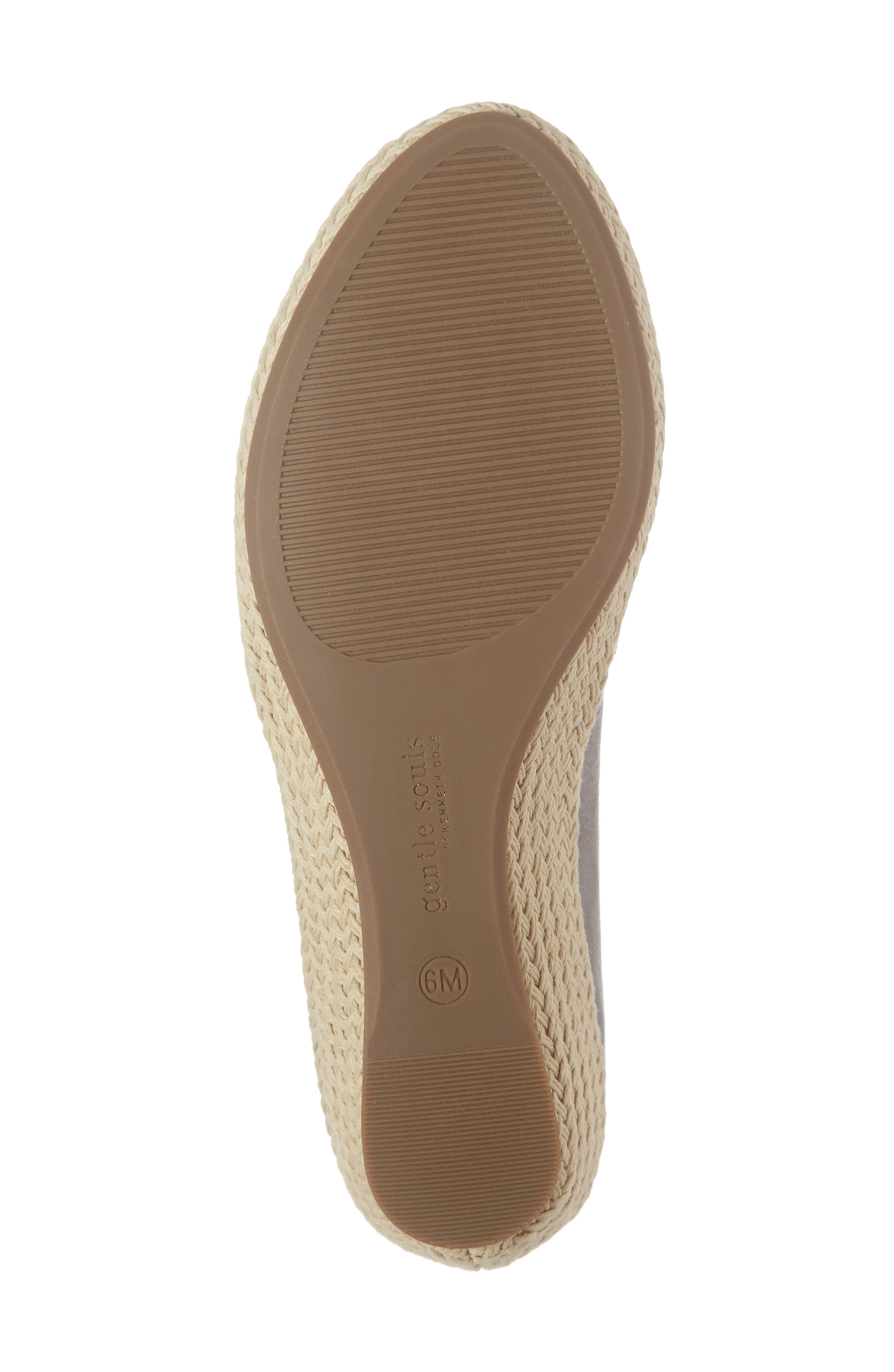 GENTLE SOULS BY KENNETH COLE, Luca Open Toe Wedge Espadrille, Alternate thumbnail 6, color, PEWTER METALLIC LEATHER