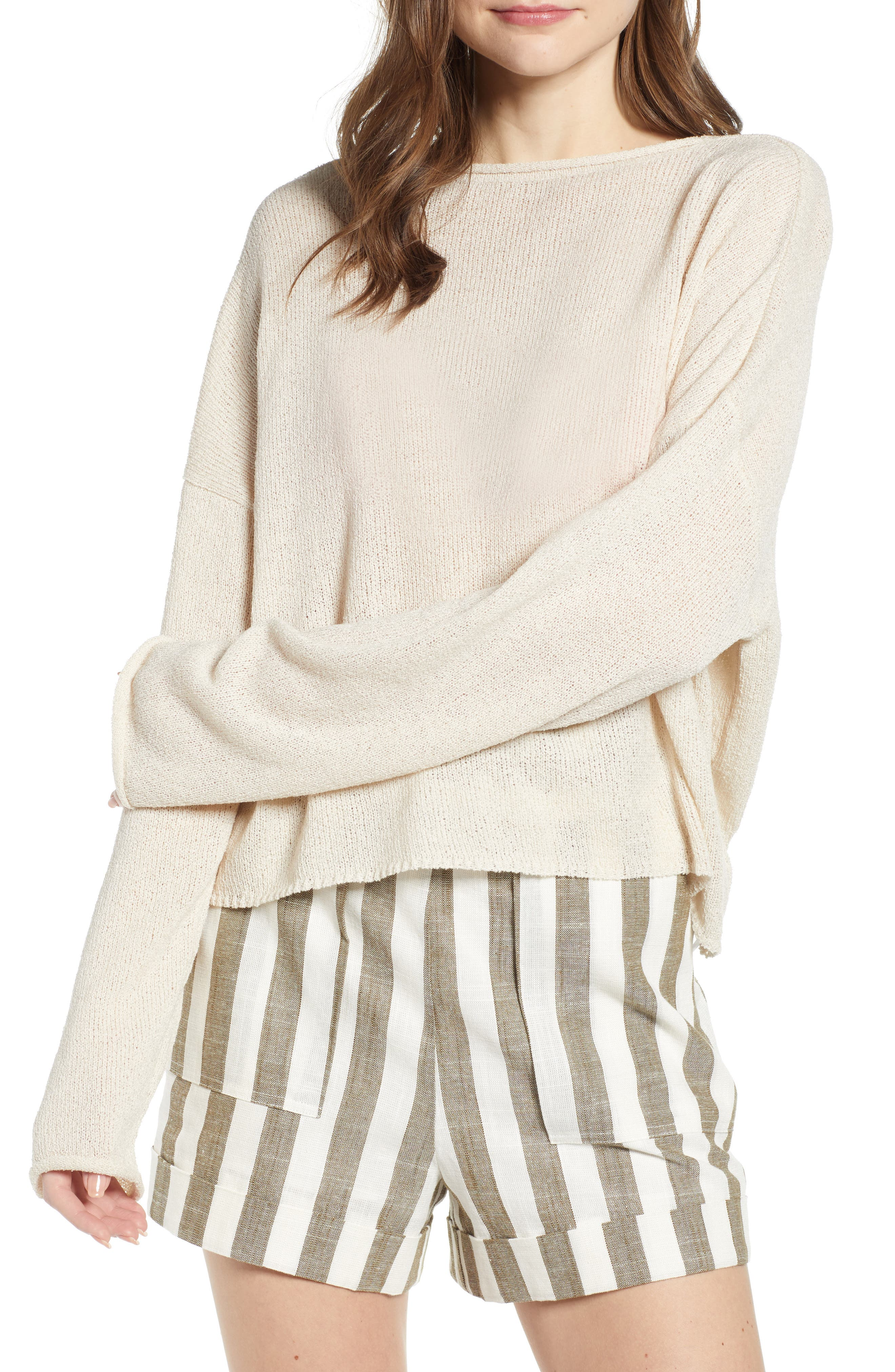CHRISELLE LIM COLLECTION, Chriselle Lim Sabine Front/Back Sweater, Alternate thumbnail 5, color, NATURAL