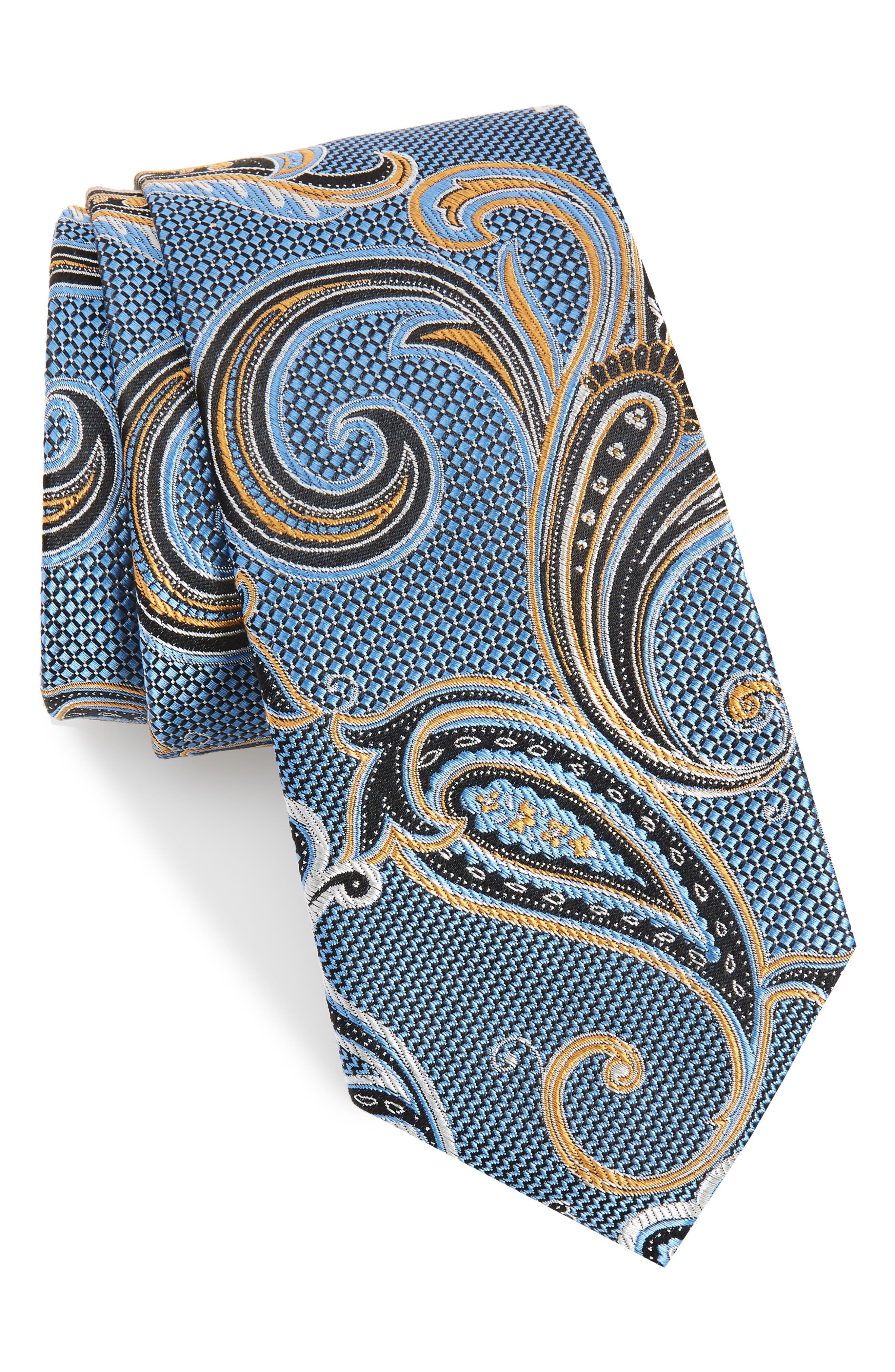 NORDSTROM MEN'S SHOP, Bryce Paisley Silk Tie, Main thumbnail 1, color, BLUE