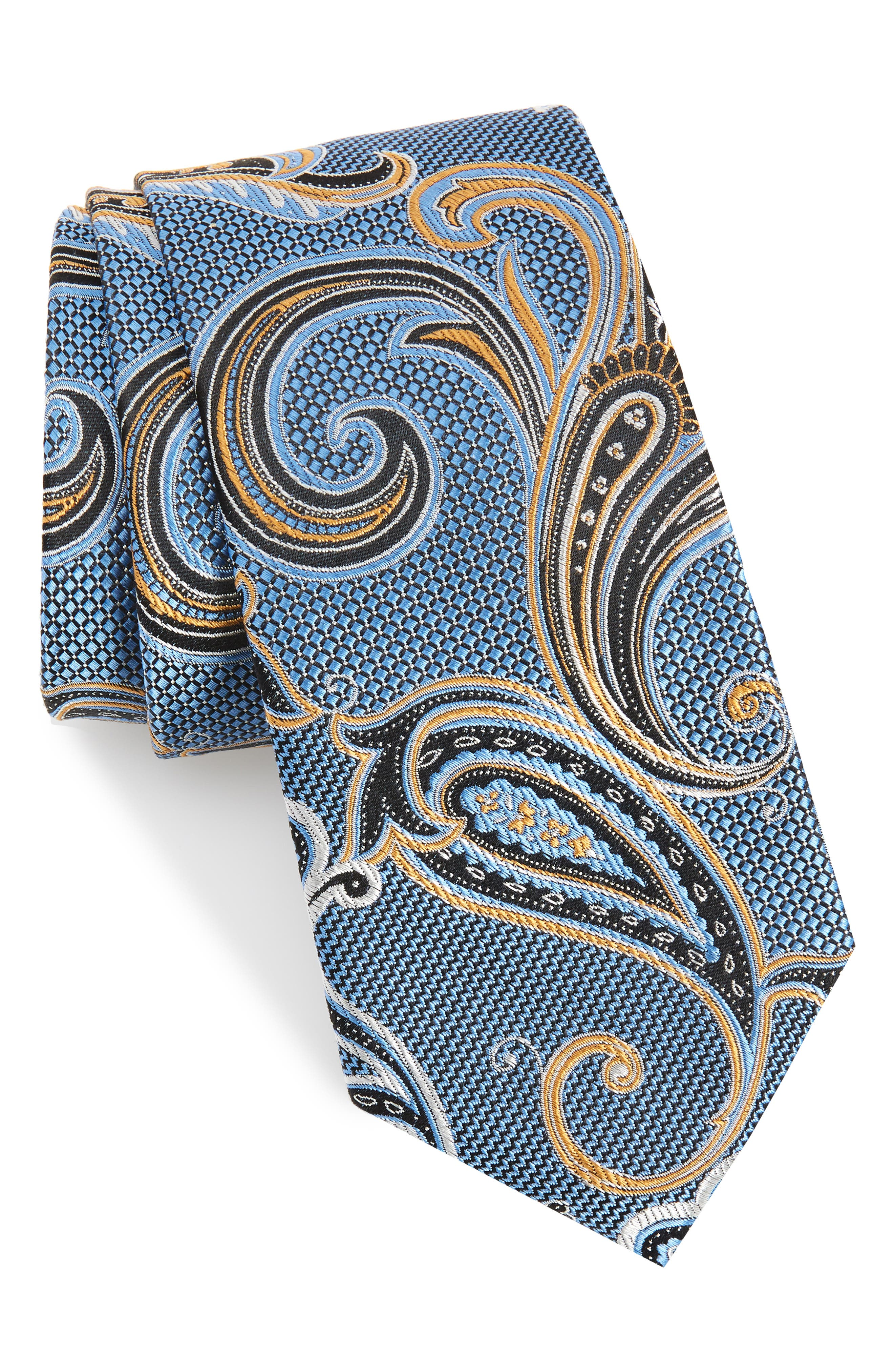 NORDSTROM MEN'S SHOP Bryce Paisley Silk Tie, Main, color, BLUE