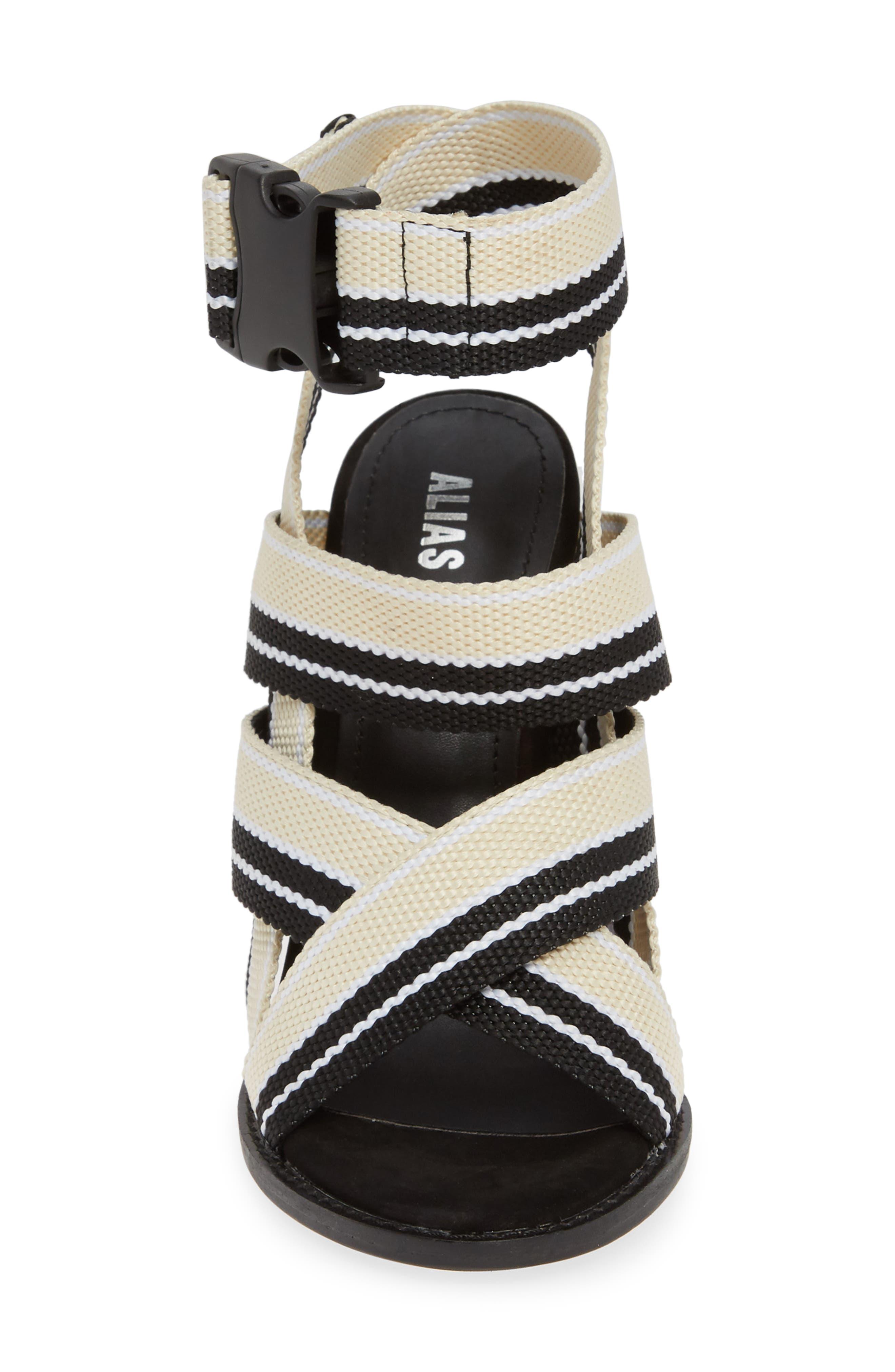 ALIAS MAE, Woven Strappy Sandal, Alternate thumbnail 4, color, NUDE/ BLACK FABRIC