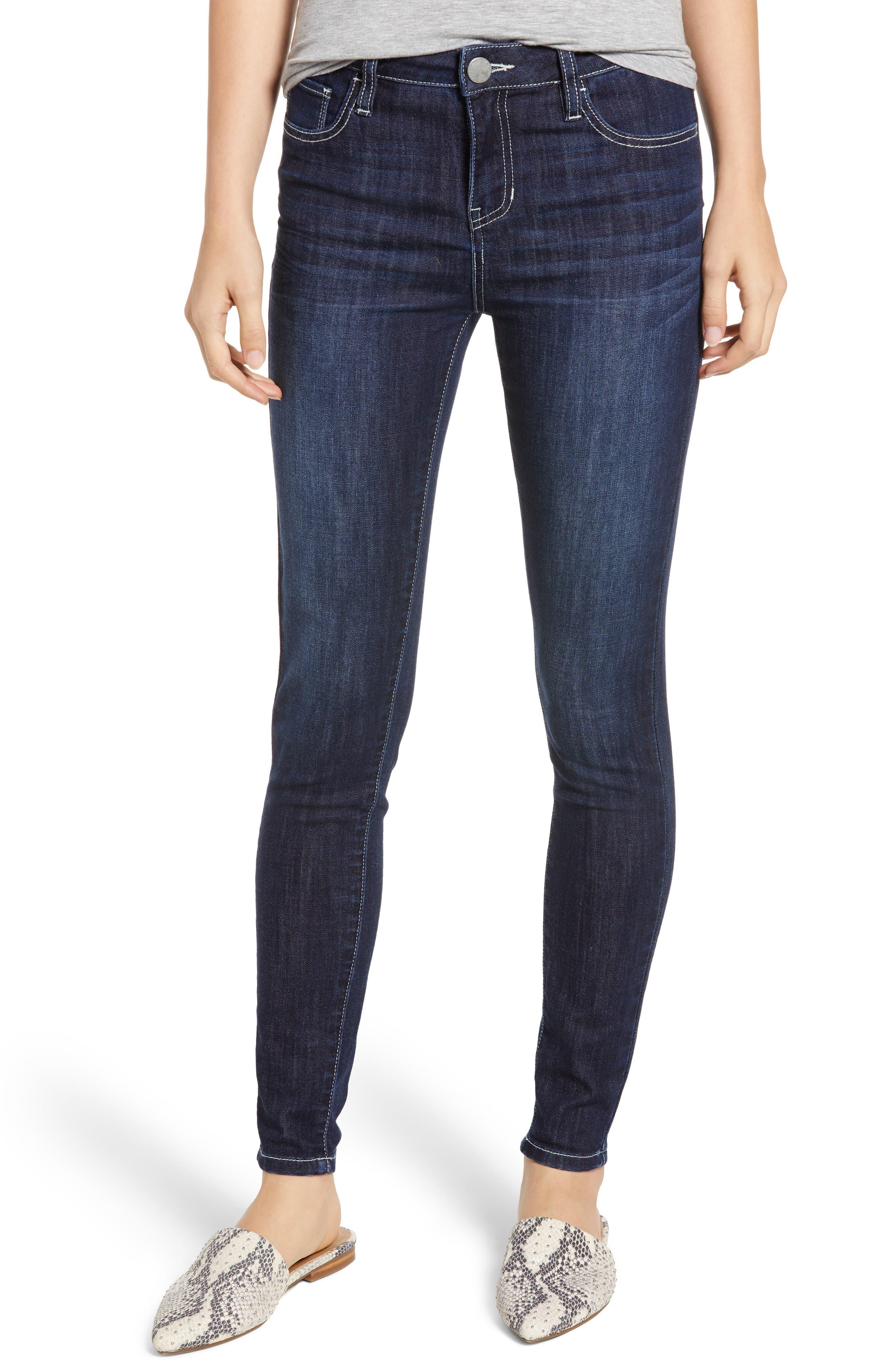 PROSPERITY DENIM Contrast Stitch Skinny Jeans, Main, color, DARK WASH