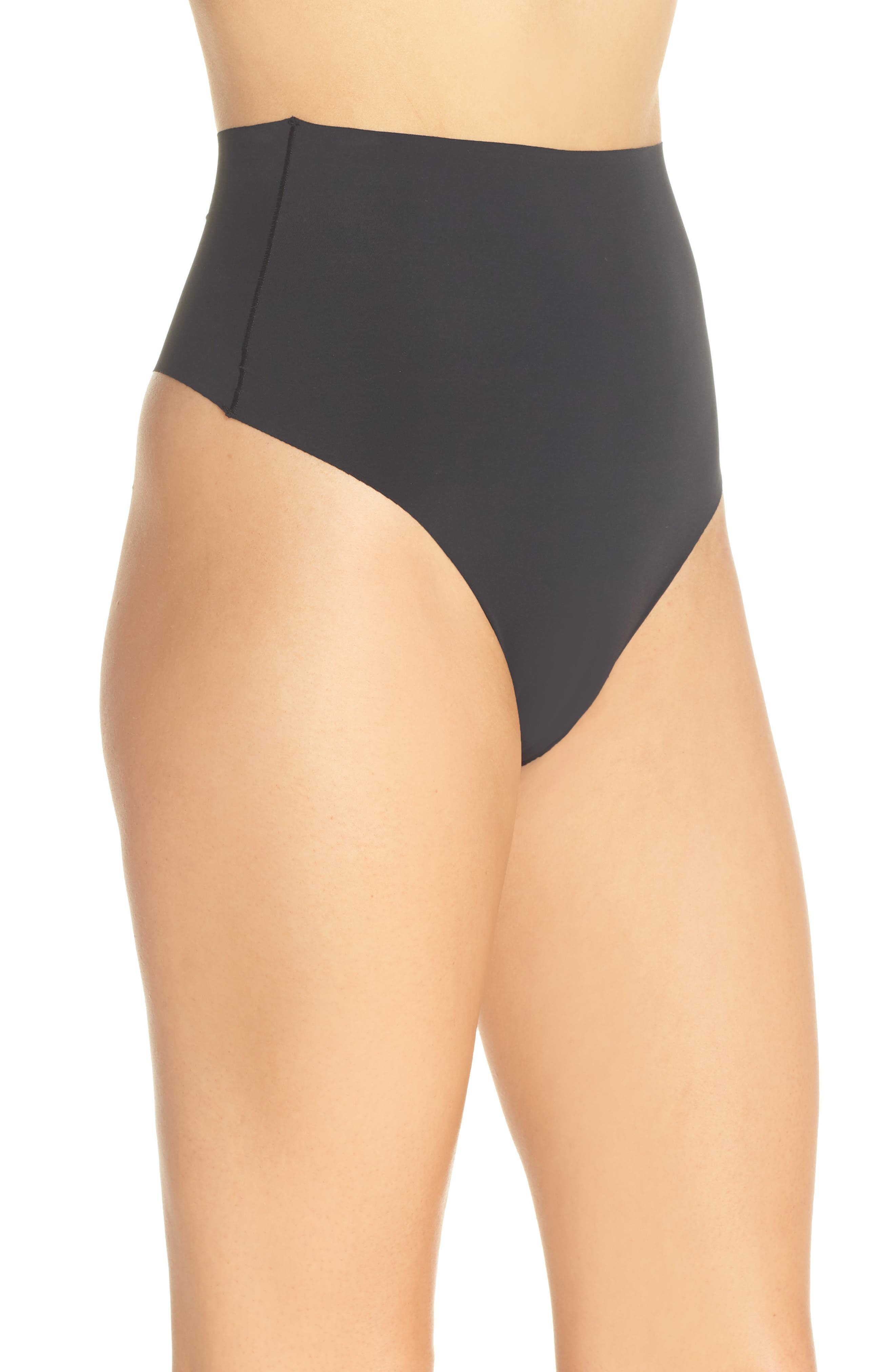 YUMMIE, Smooth Solutions Mid Waist Thong, Alternate thumbnail 3, color, BLACK