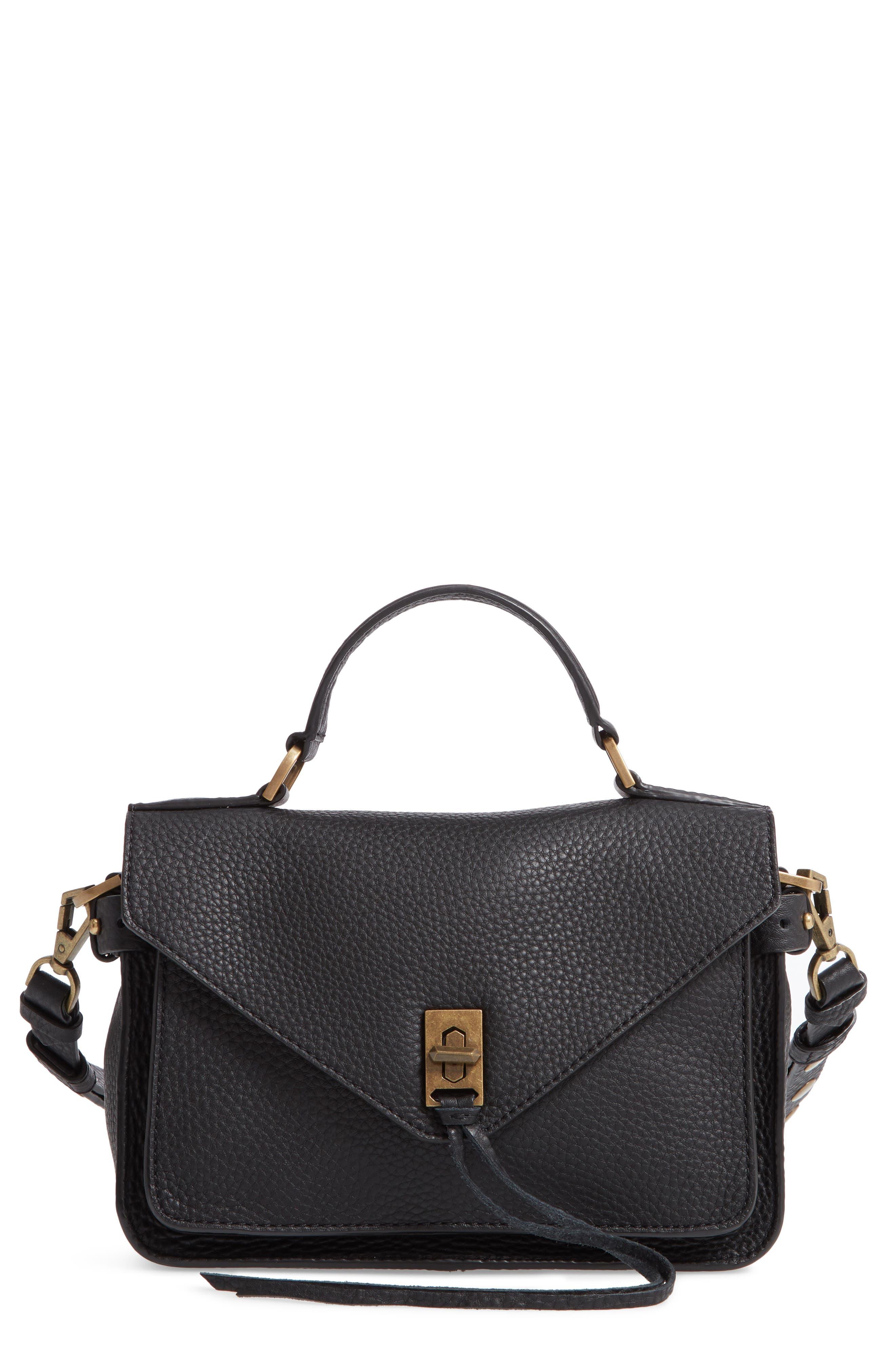 REBECCA MINKOFF, 'Small Darren' Leather Messenger Bag, Main thumbnail 1, color, BLACK
