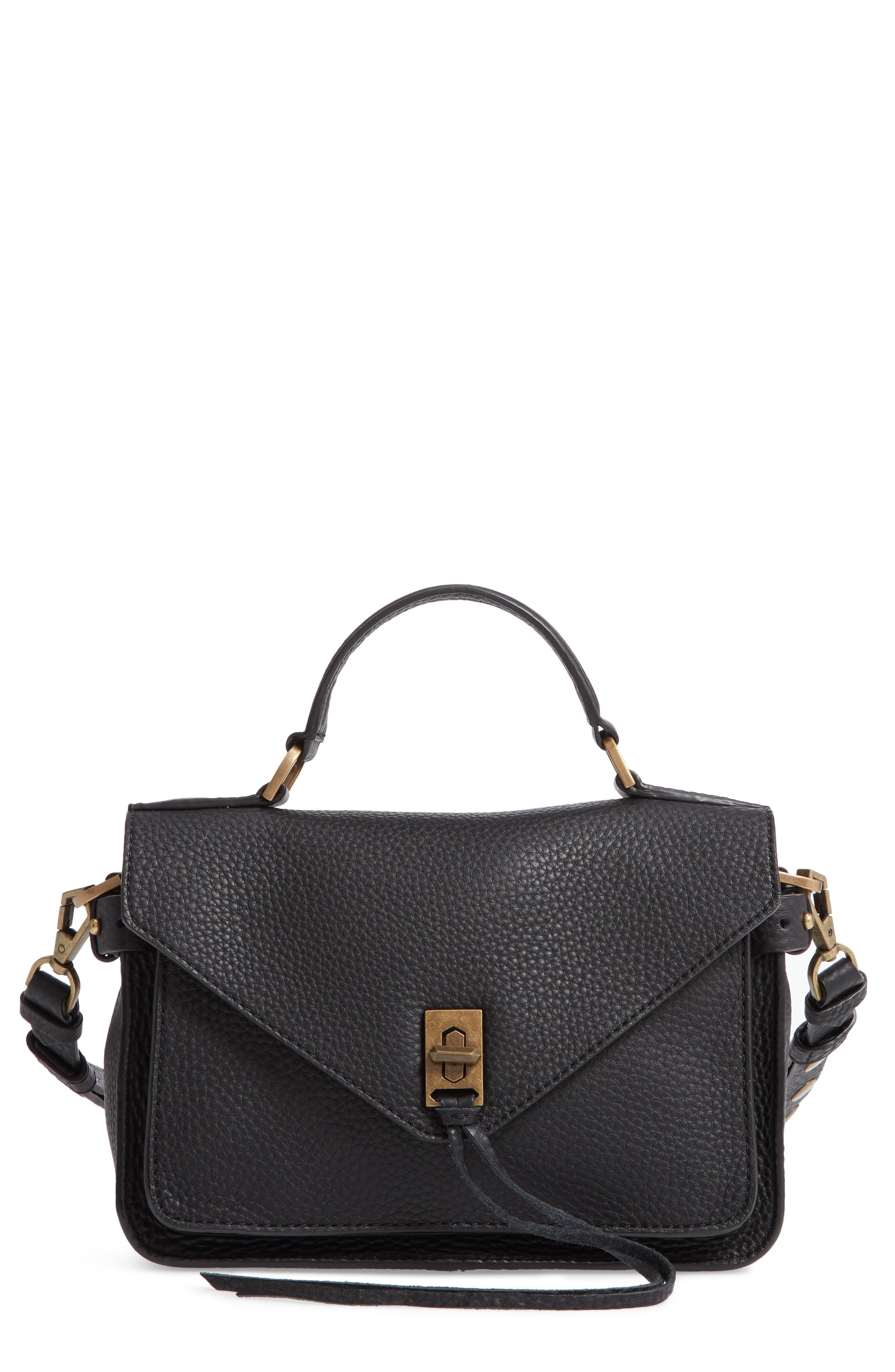 REBECCA MINKOFF 'Small Darren' Leather Messenger Bag, Main, color, BLACK