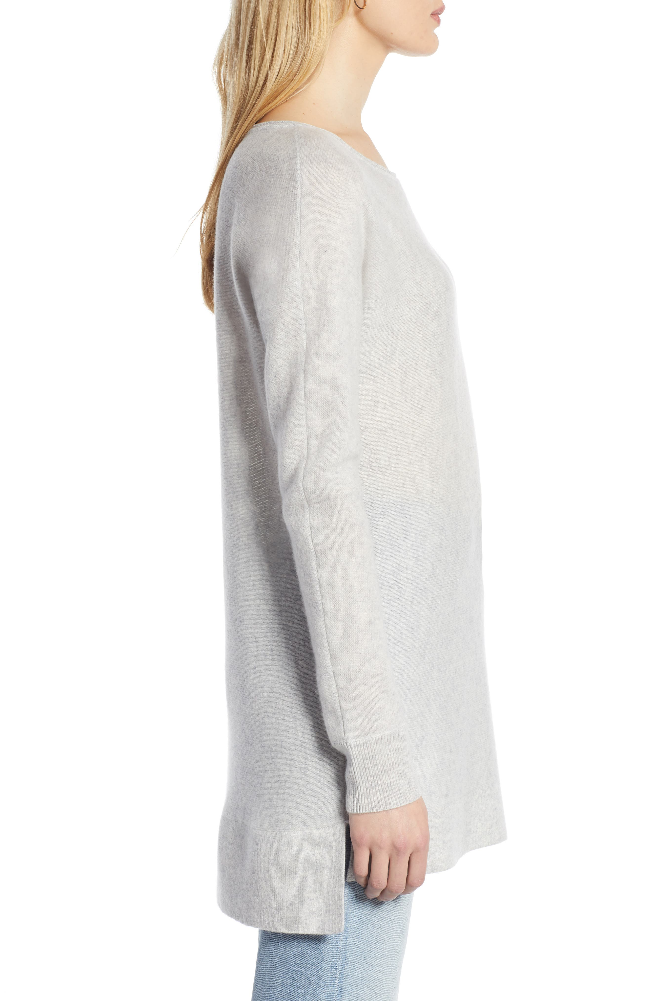 HALOGEN<SUP>®</SUP>, High/Low Wool & Cashmere Tunic Sweater, Alternate thumbnail 3, color, 023