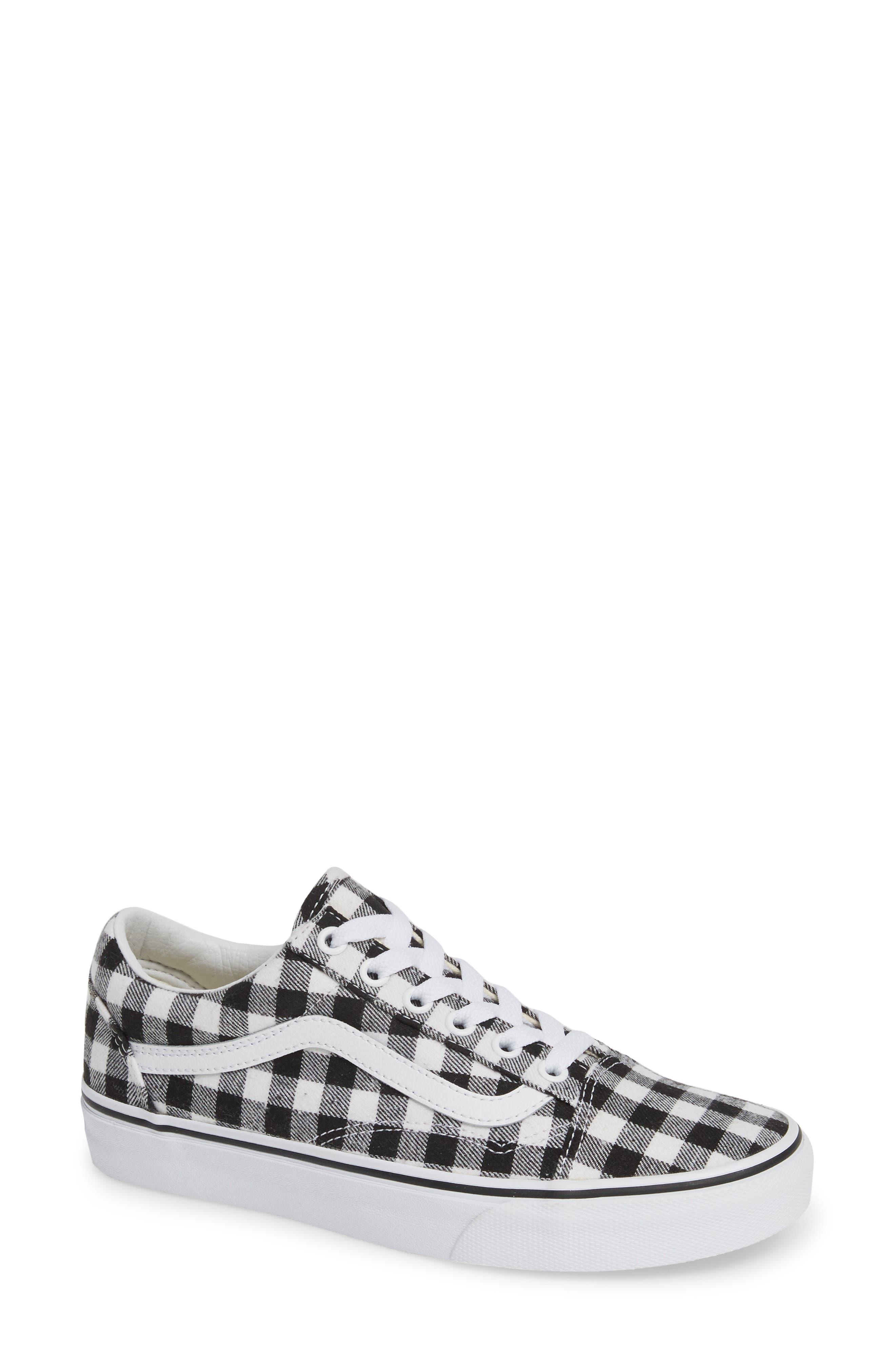 VANS Old Skool Sneaker, Main, color, GINGHAM BLACK/ TRUE WHITE