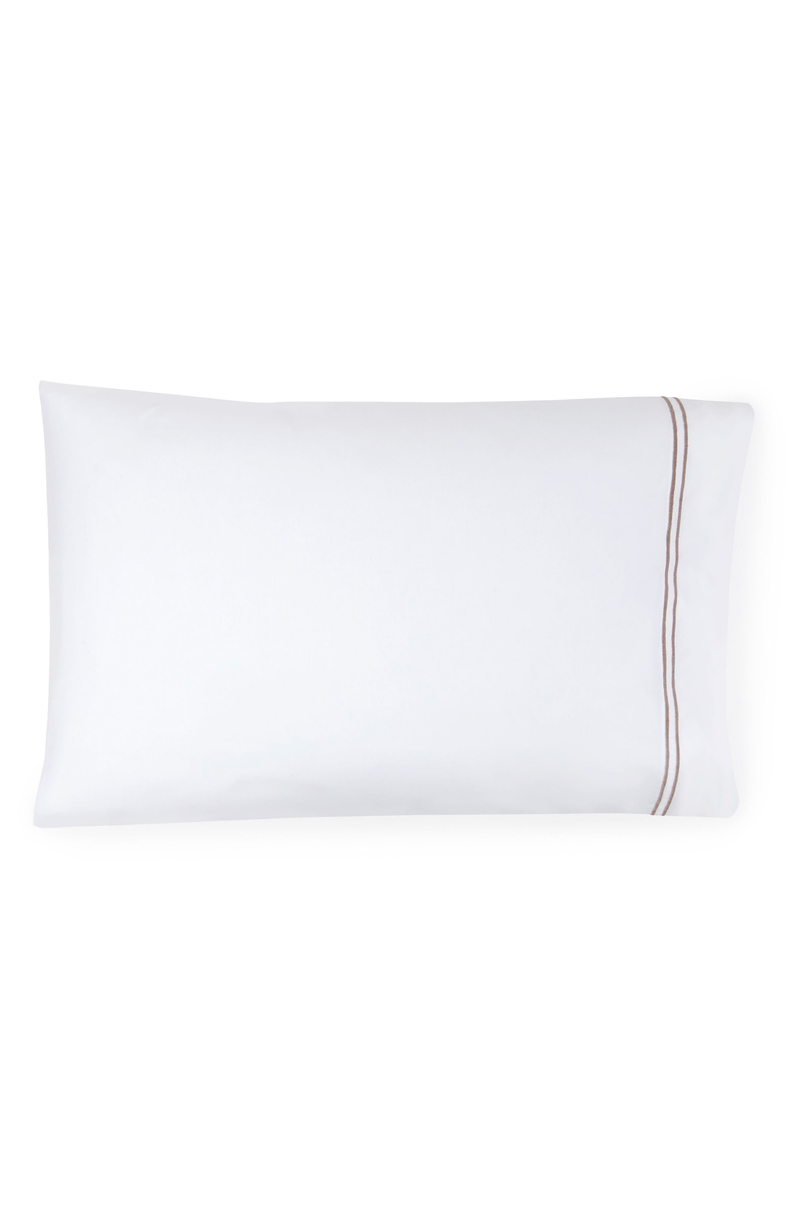SFERRA, Grande Hotel Pillowcase, Main thumbnail 1, color, WHITE/ GREY