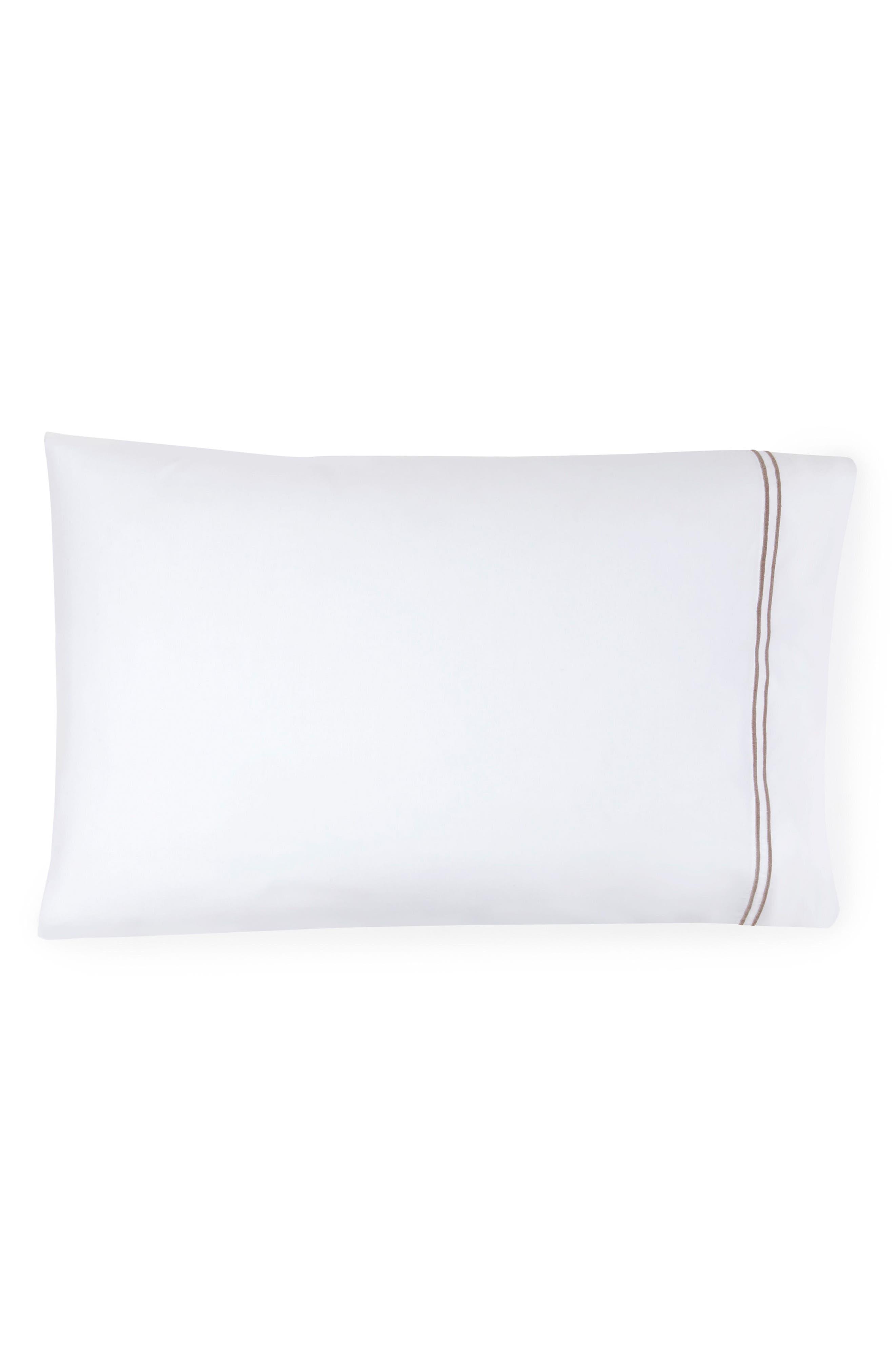 SFERRA Grande Hotel Pillowcase, Main, color, WHITE/ GREY