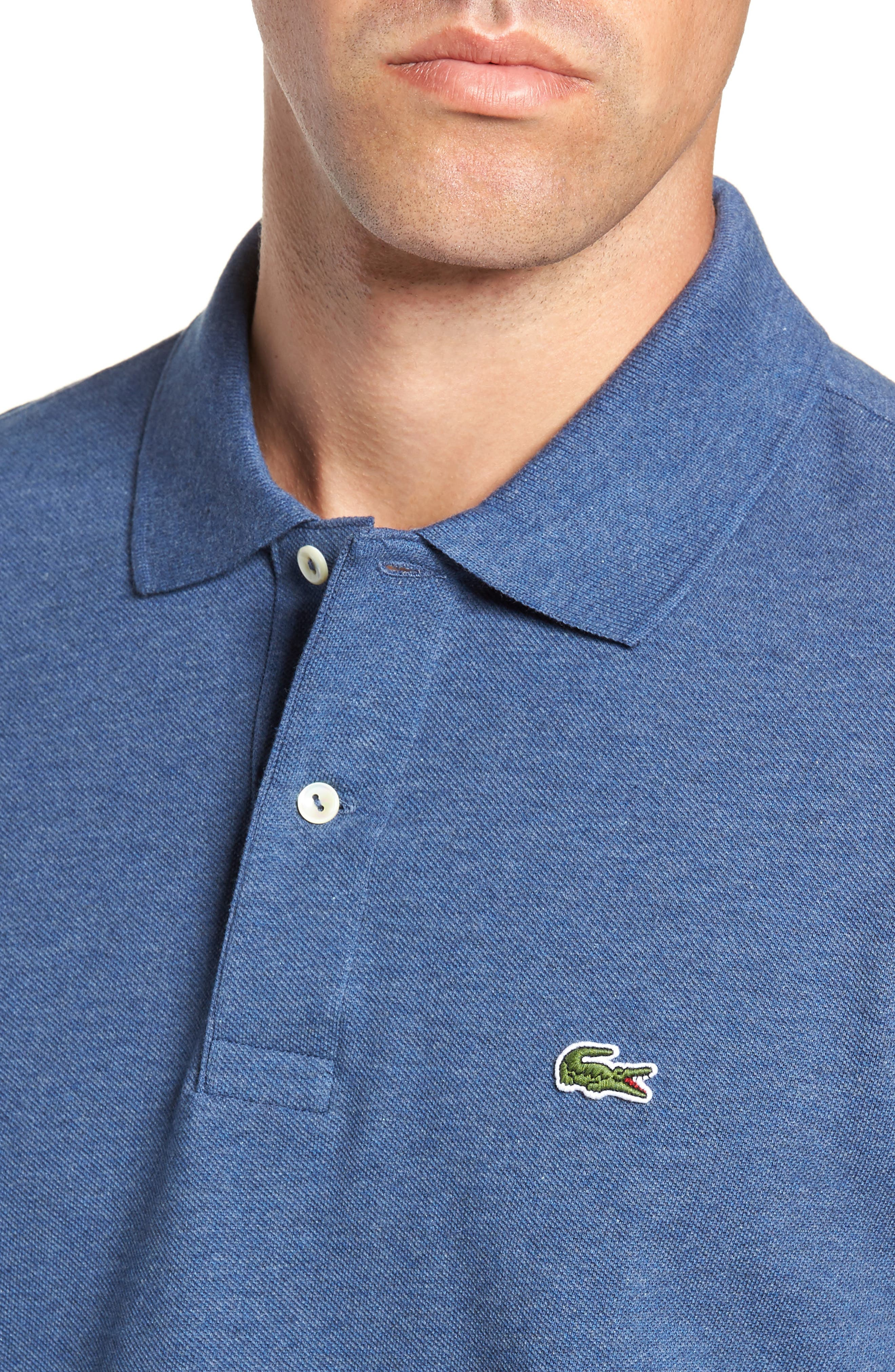 LACOSTE, Long Sleeve Piqué Polo, Alternate thumbnail 4, color, CRUISE CHINE