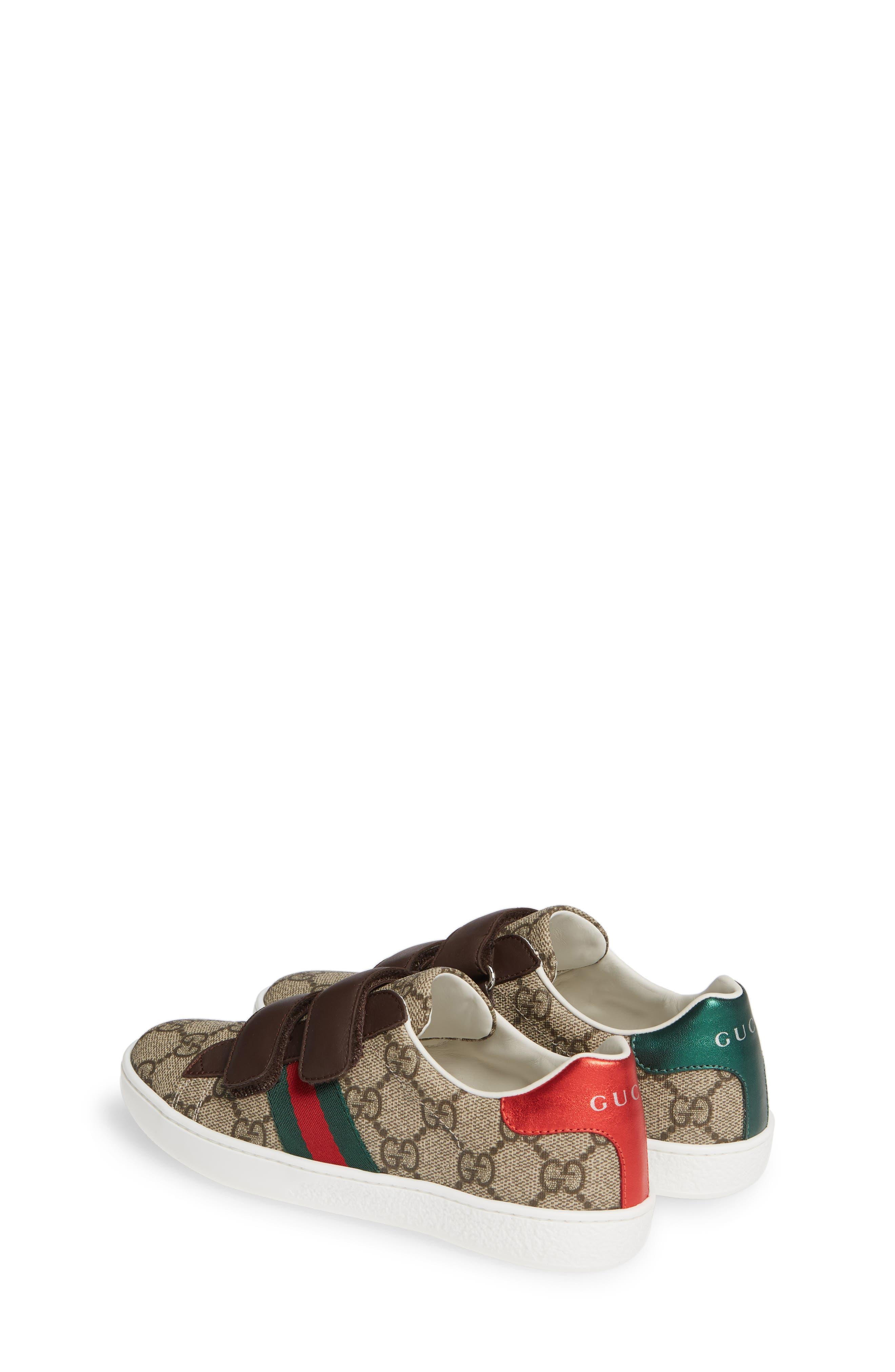 GUCCI, New Ace Monogram Sneaker, Alternate thumbnail 3, color, BEIGE