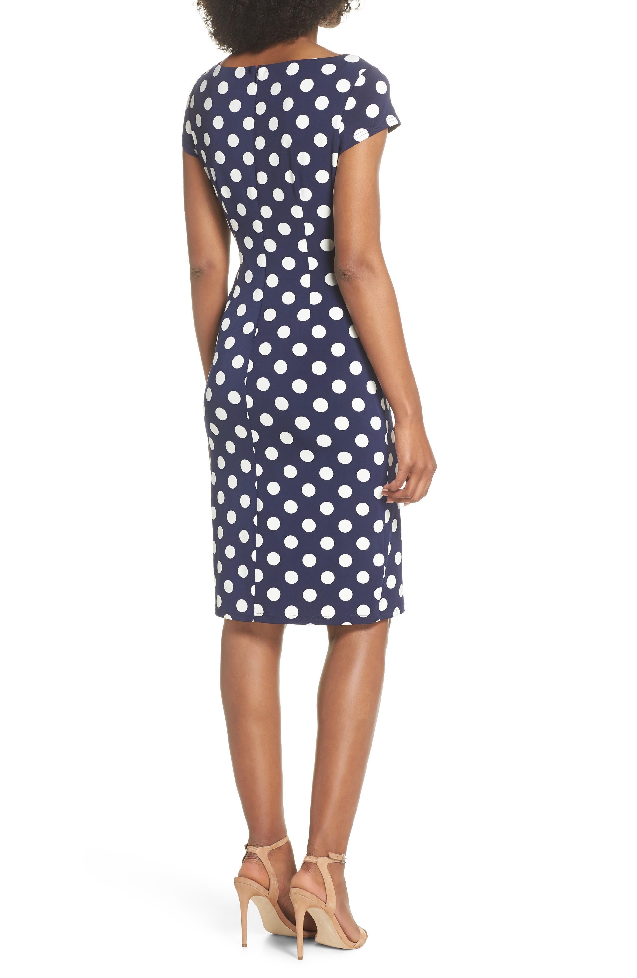 ELIZA J, Polka Dot Side Twist Sheath Dress, Alternate thumbnail 2, color, 407
