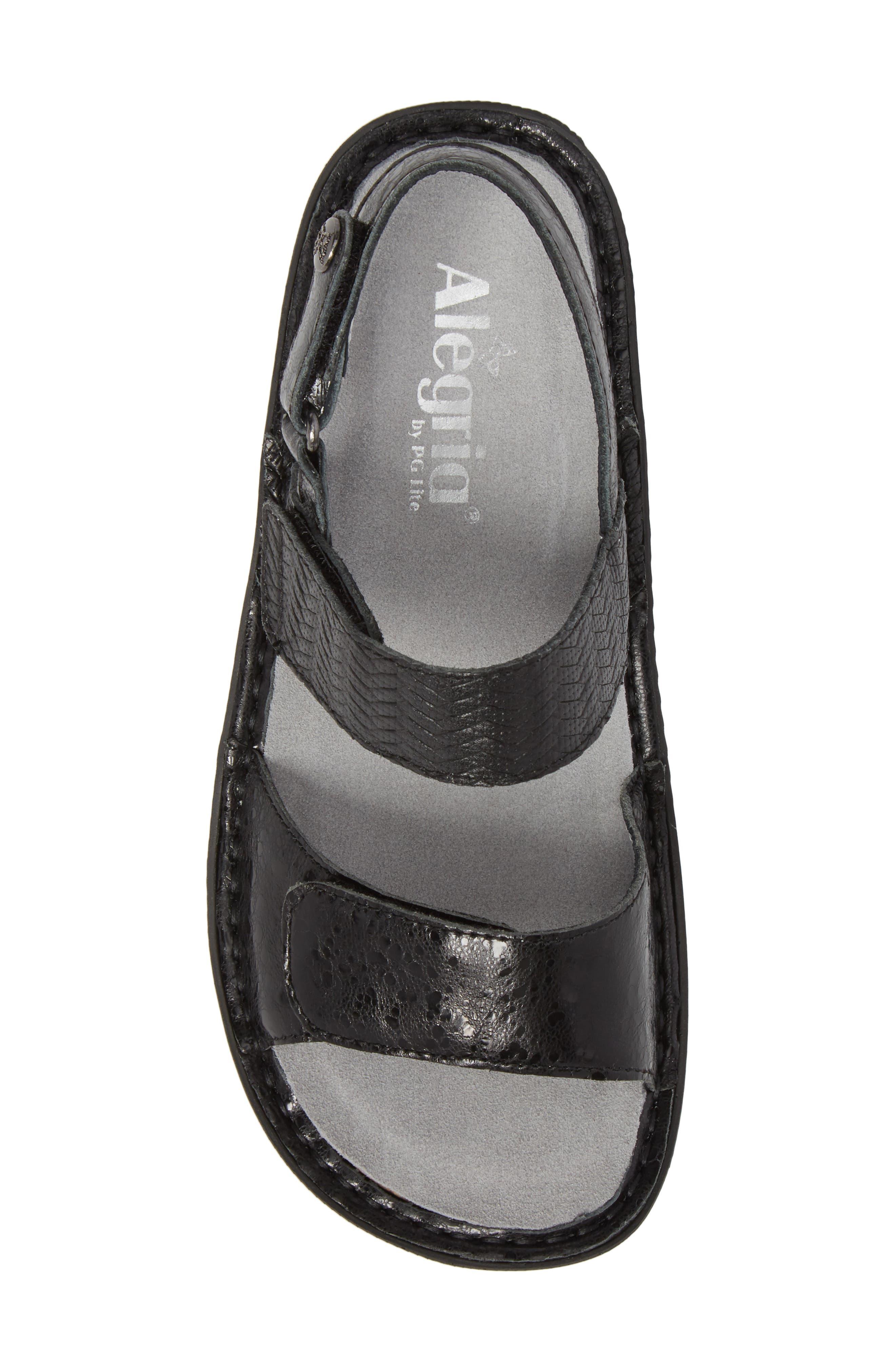 ALEGRIA, 'Verona' Sandal, Alternate thumbnail 5, color, BRAIDED BLACK LEATHER