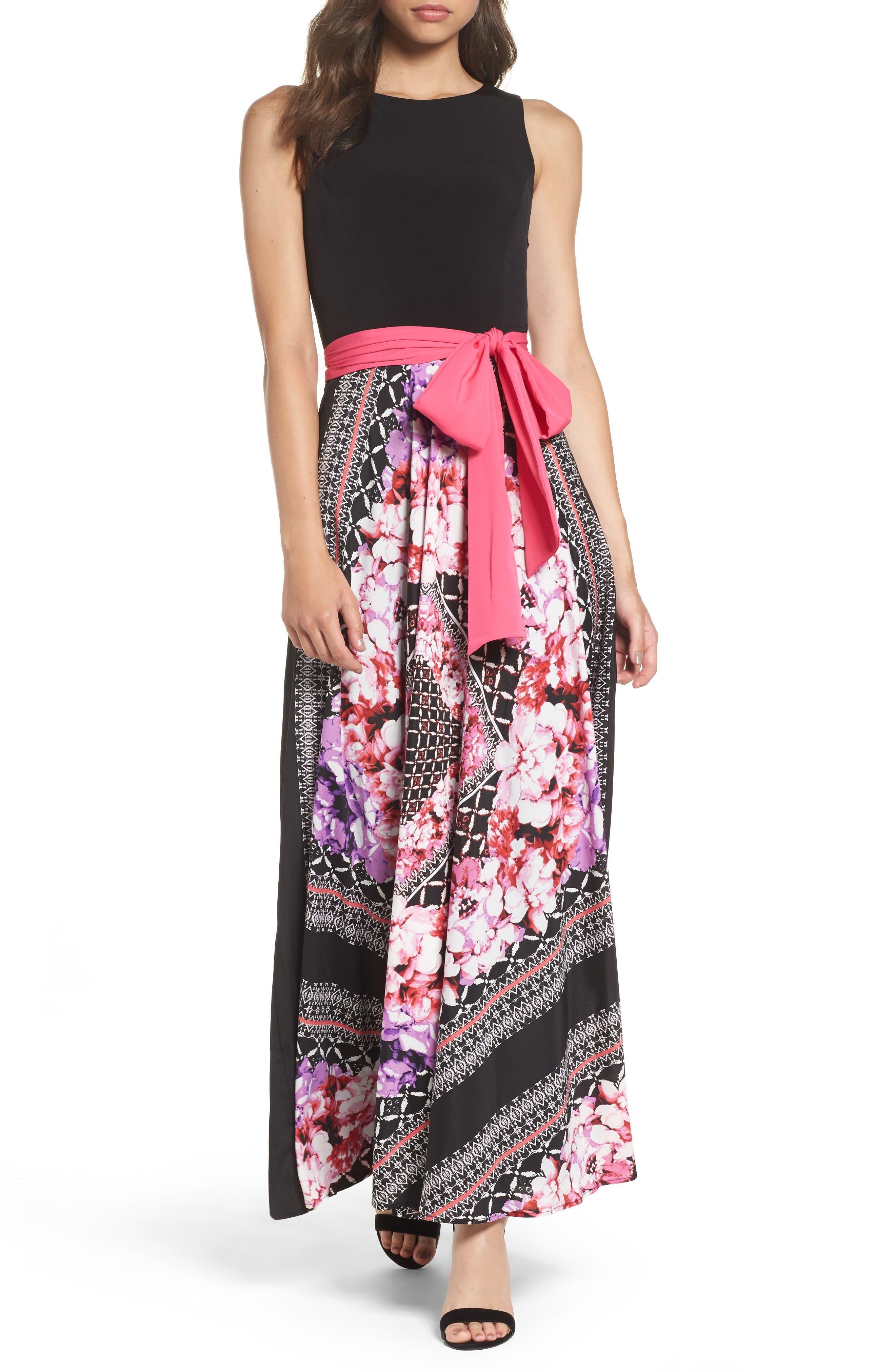 ELIZA J, Scarf Print Jersey & Crêpe de Chine Maxi Dress, Main thumbnail 1, color, 001