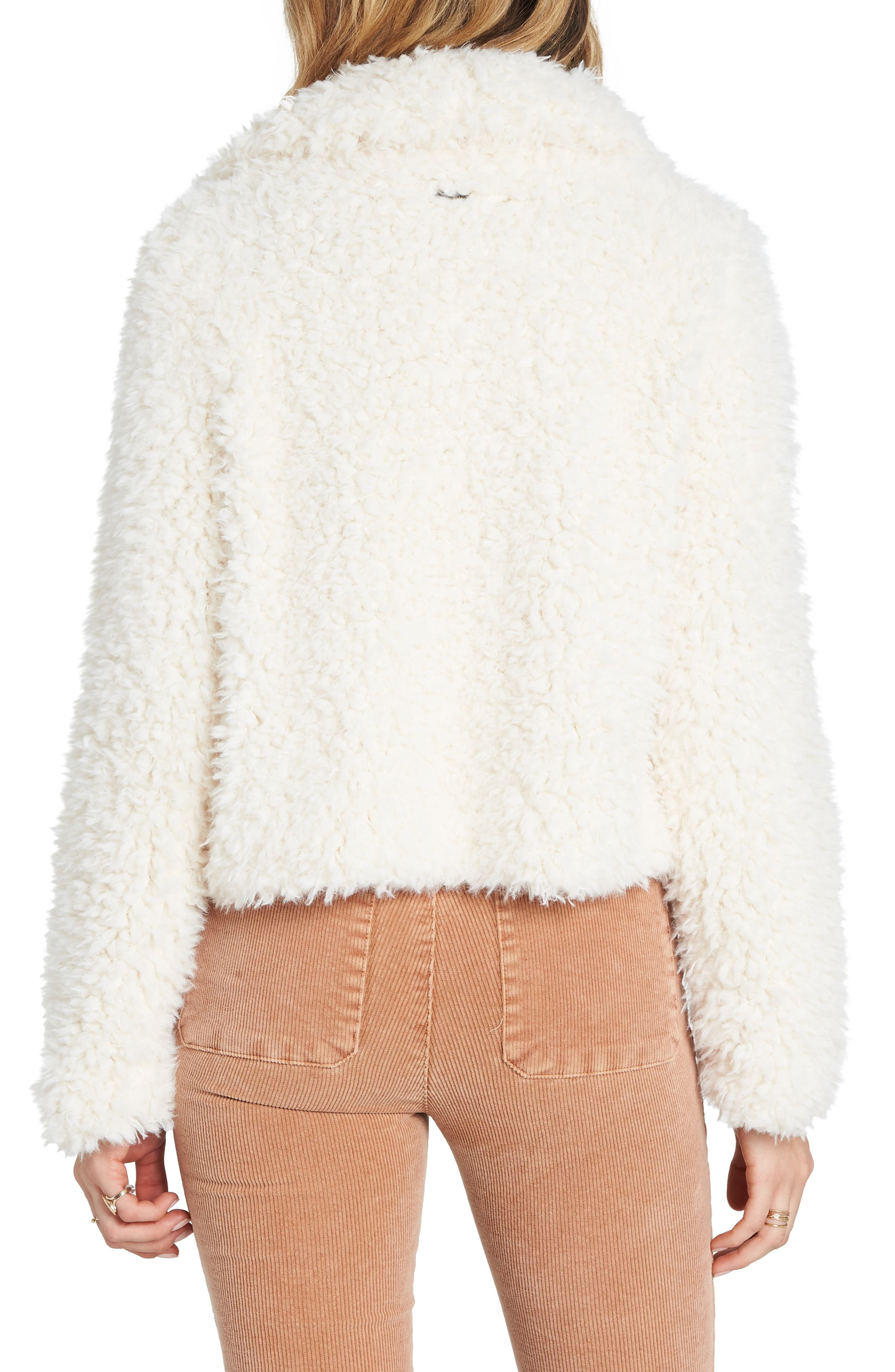 BILLABONG, Fur Keeps Faux Fur Crop Jacket, Alternate thumbnail 2, color, 190