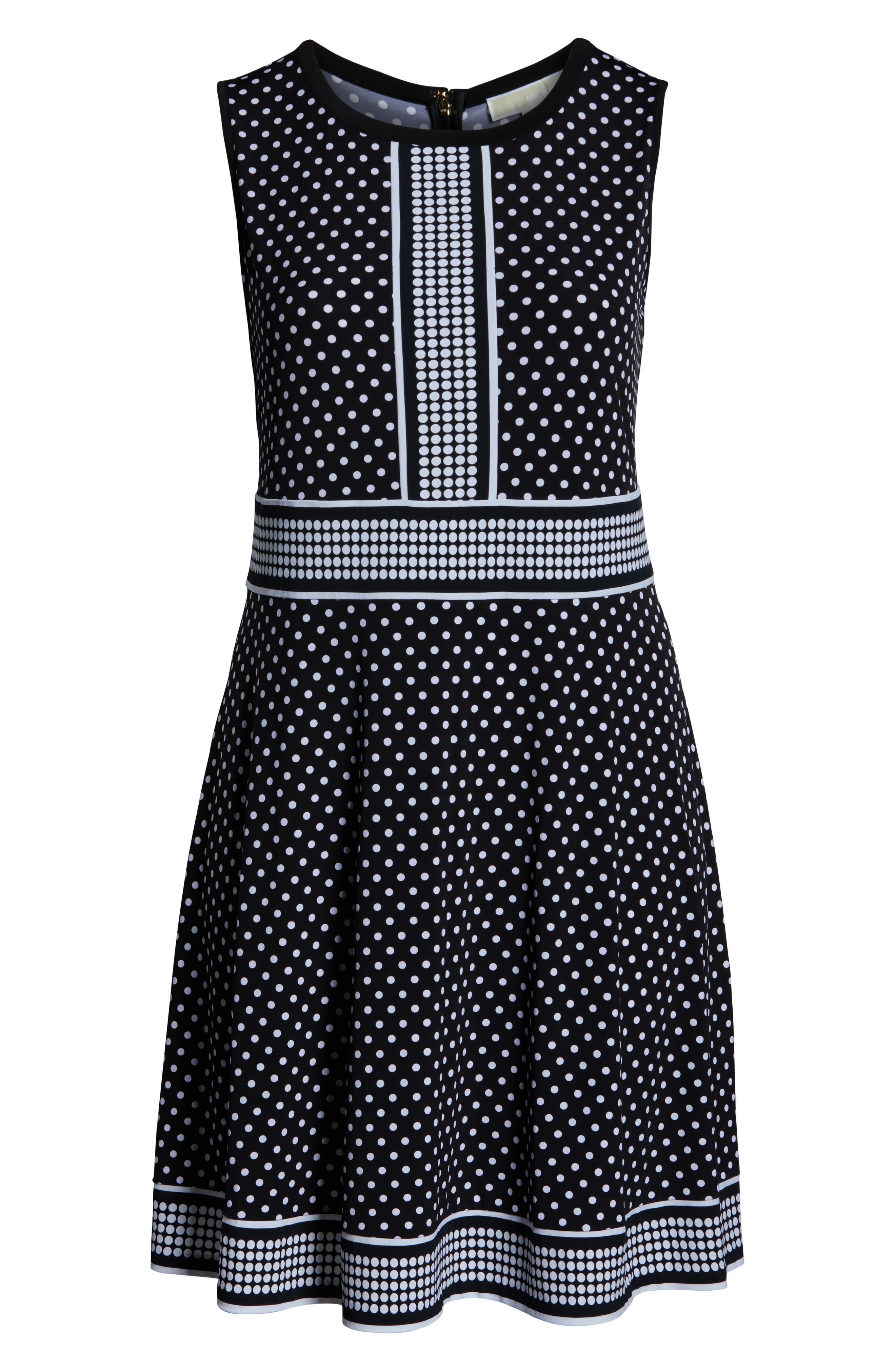 MICHAEL MICHAEL KORS, Mixed Polka Dot Dress, Alternate thumbnail 7, color, BLACK/ WHITE