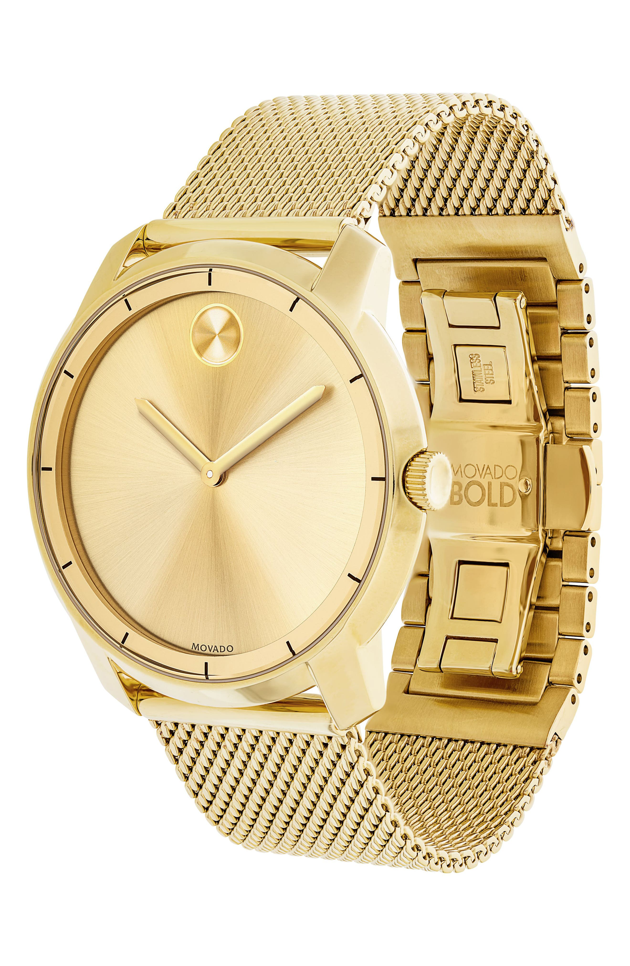 MOVADO, 'Bold' Mesh Strap Watch, 44mm, Alternate thumbnail 3, color, GOLD