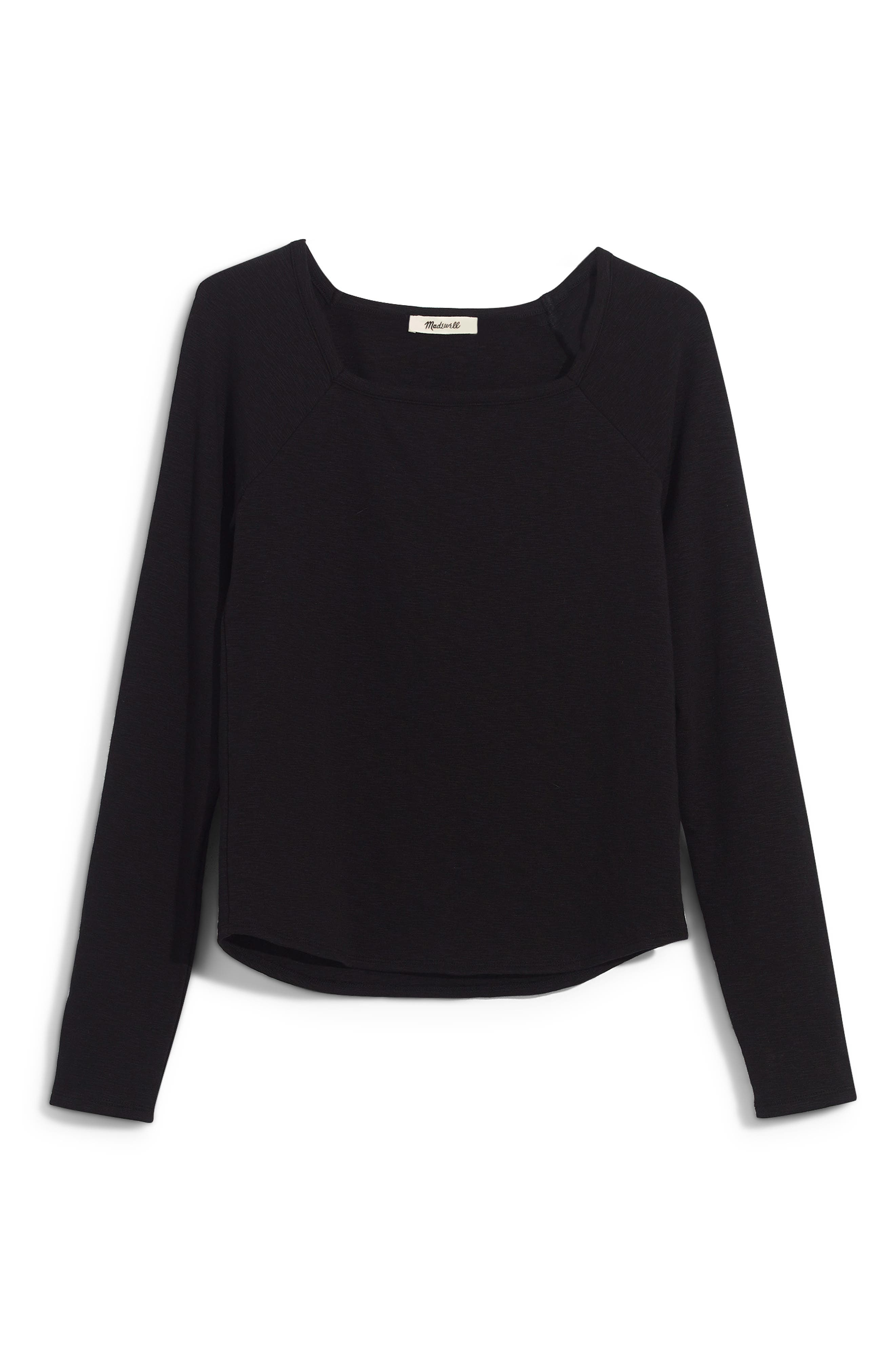 MADEWELL, Square Neck Long Sleeve Tee, Alternate thumbnail 6, color, TRUE BLACK