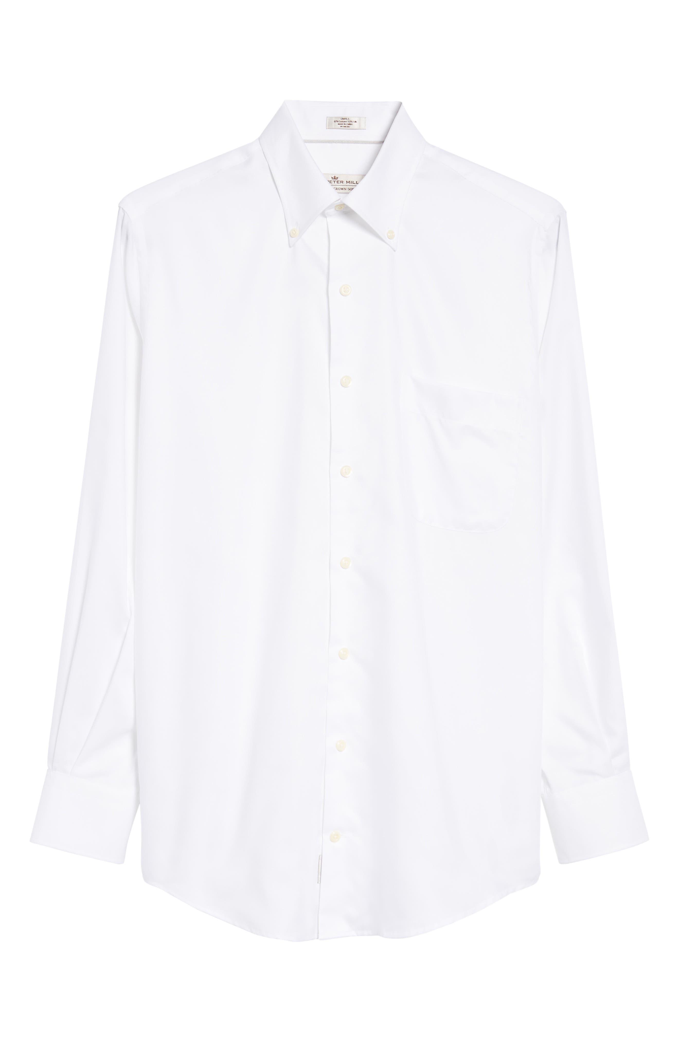 PETER MILLAR, Crown Soft Pinpoint Regular Fit Sport Shirt, Alternate thumbnail 6, color, WHITE