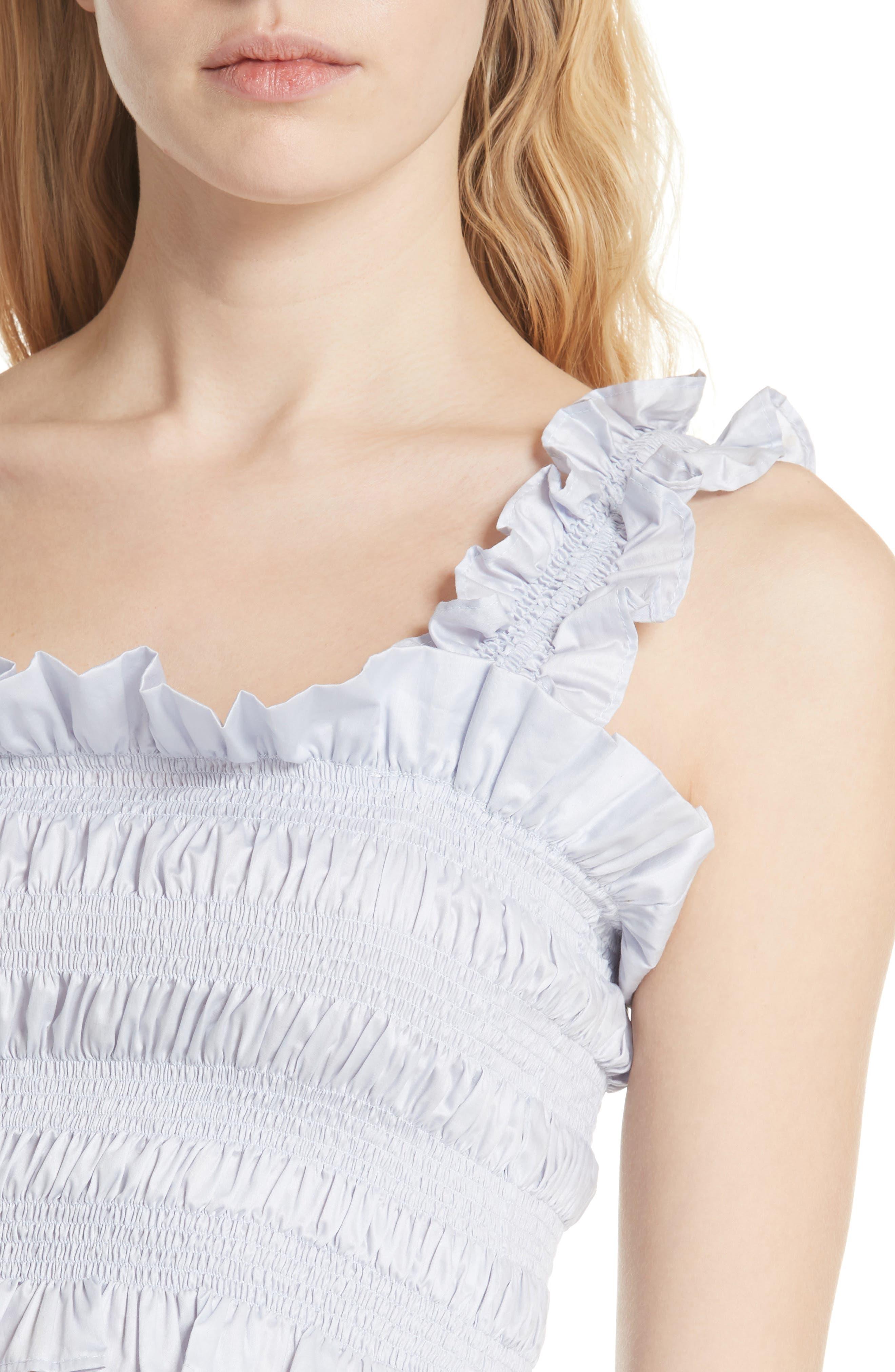 REBECCA TAYLOR, Smocked Sleeveless Cotton Top, Alternate thumbnail 4, color, 458