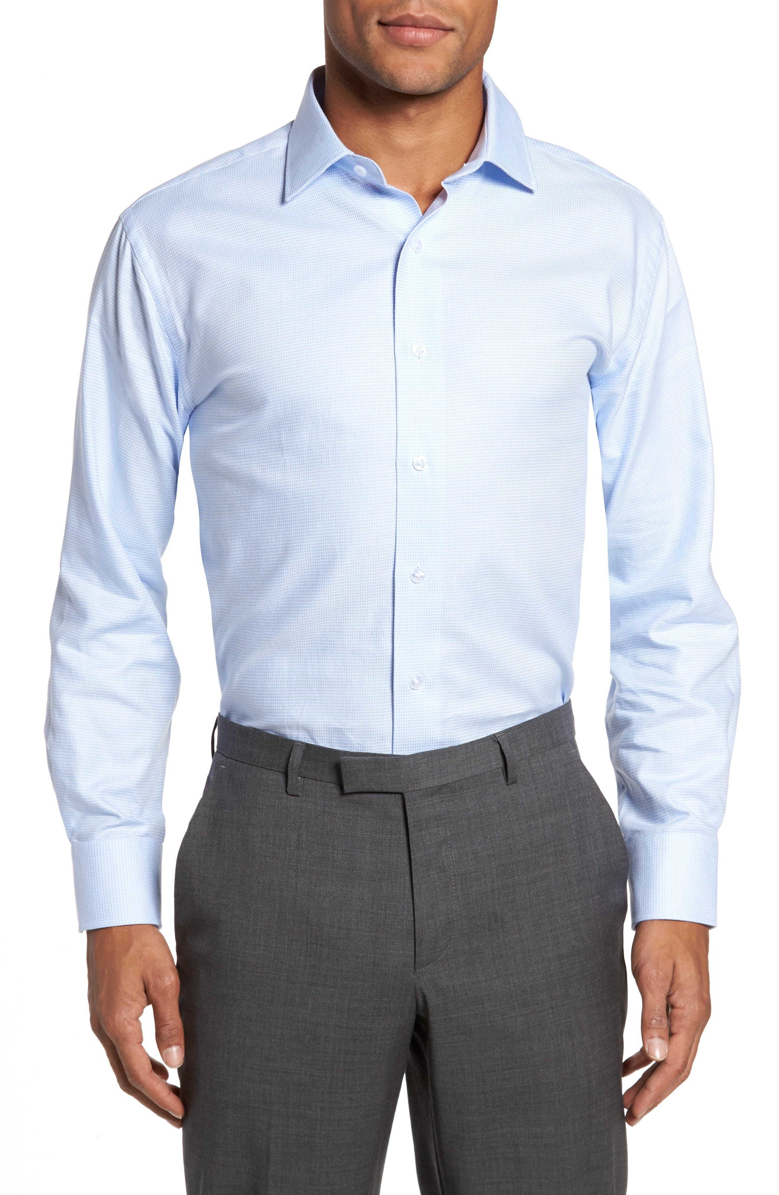 LORENZO UOMO Trim Fit Houndstooth Dress Shirt, Main, color, LIGHT BLUE