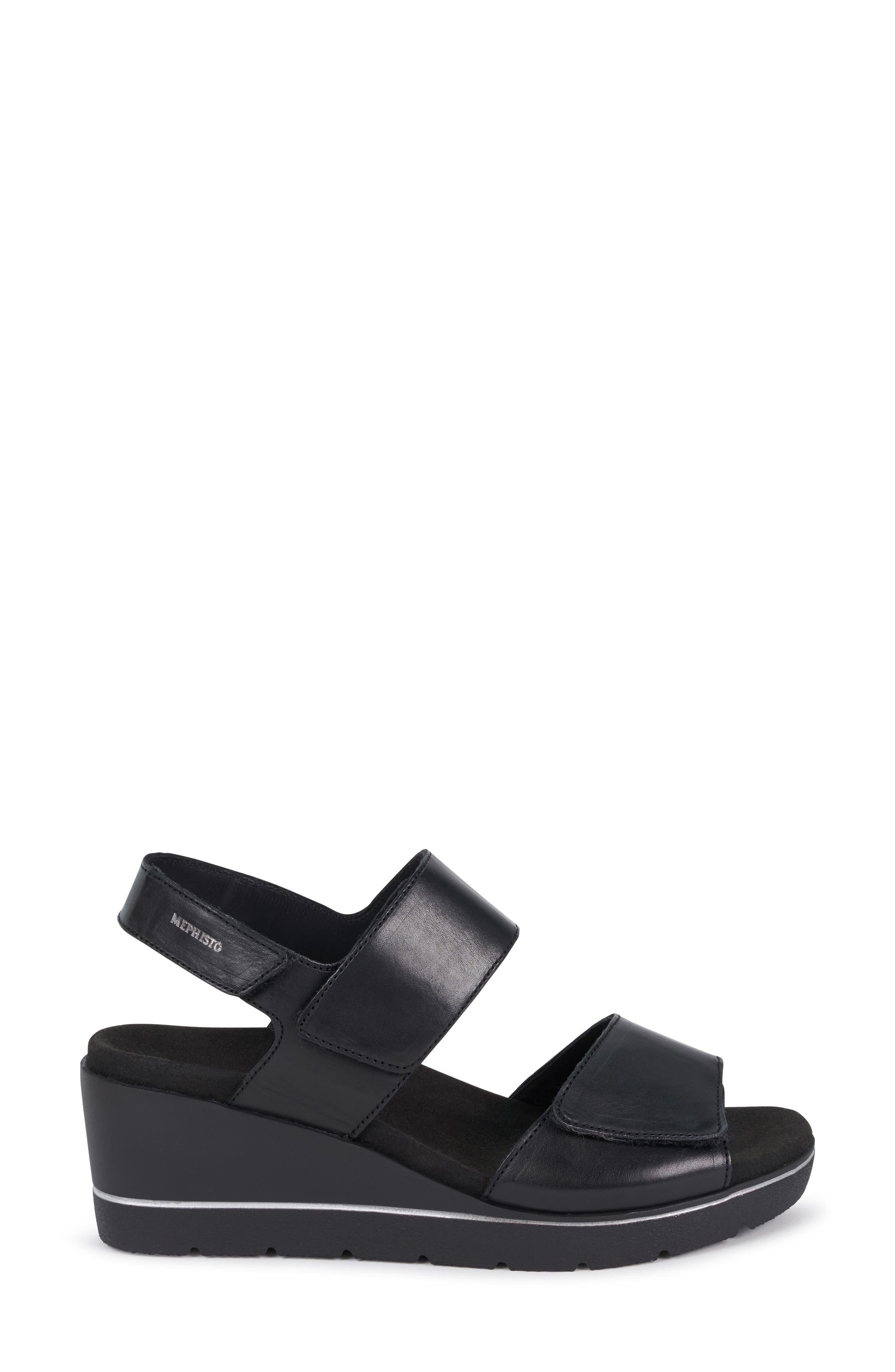 MEPHISTO, Engelina Wedge Sandal, Alternate thumbnail 3, color, BLACK SILK LEATHER