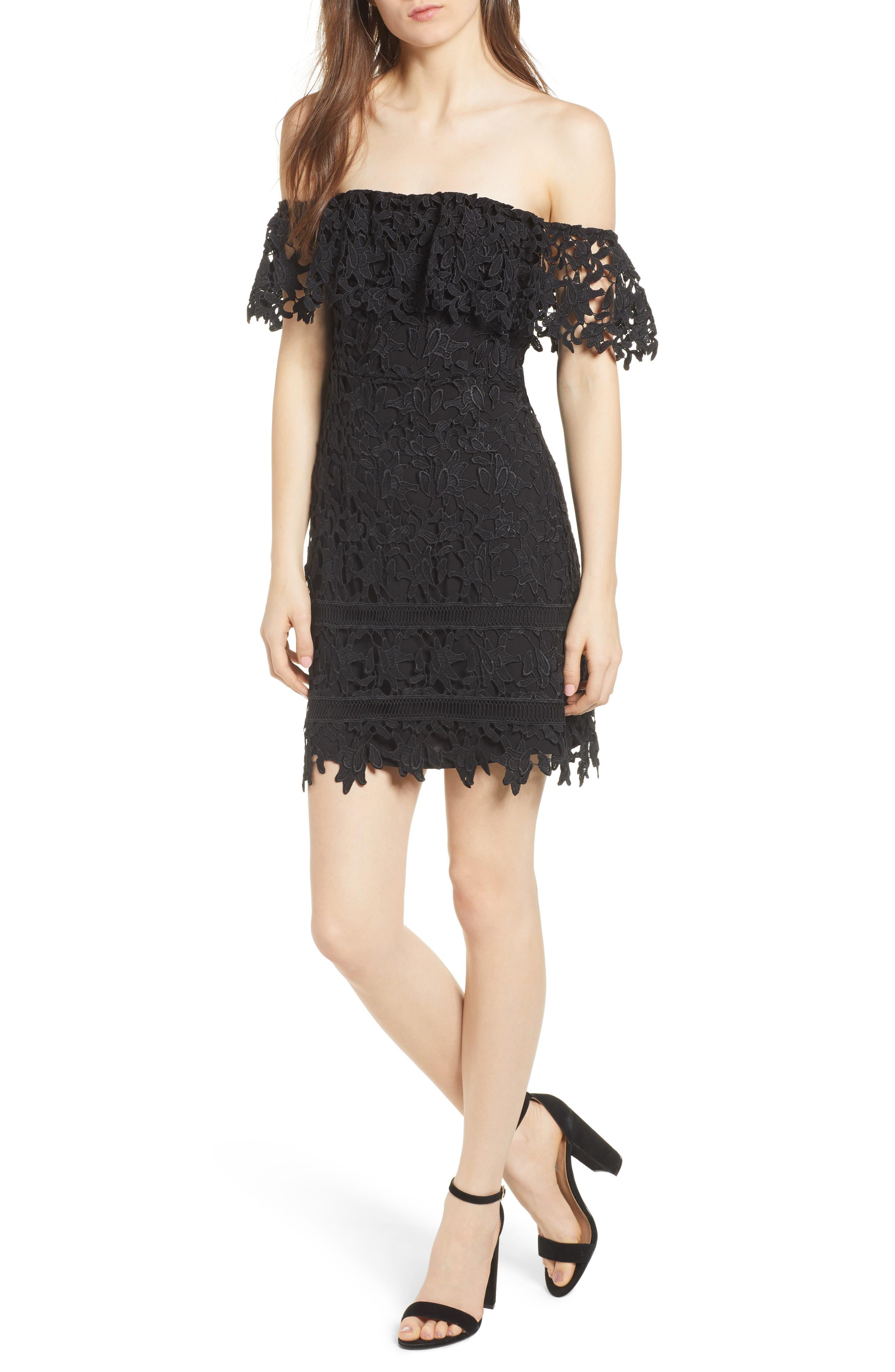 ASTR THE LABEL Off the Shoulder Lace Minidress, Main, color, 001