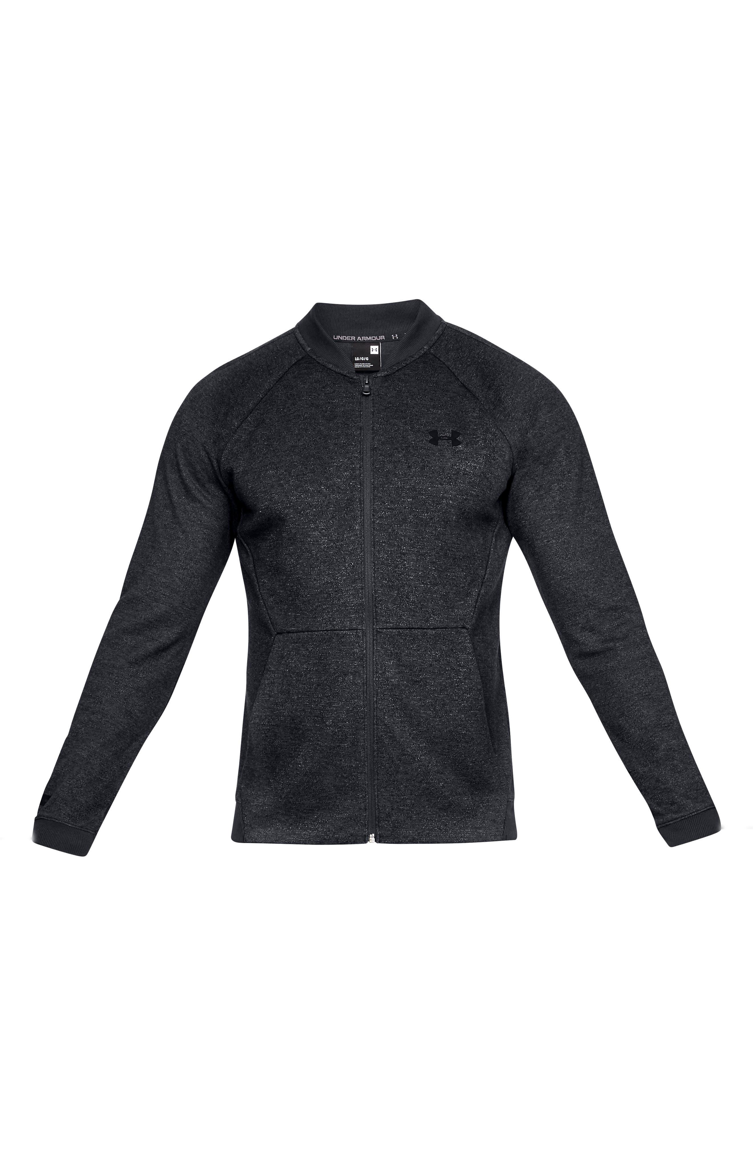 UNDER ARMOUR, Unstoppable Double Knit Bomber Jacket, Alternate thumbnail 5, color, BLACK/ BLACK/ BLACK